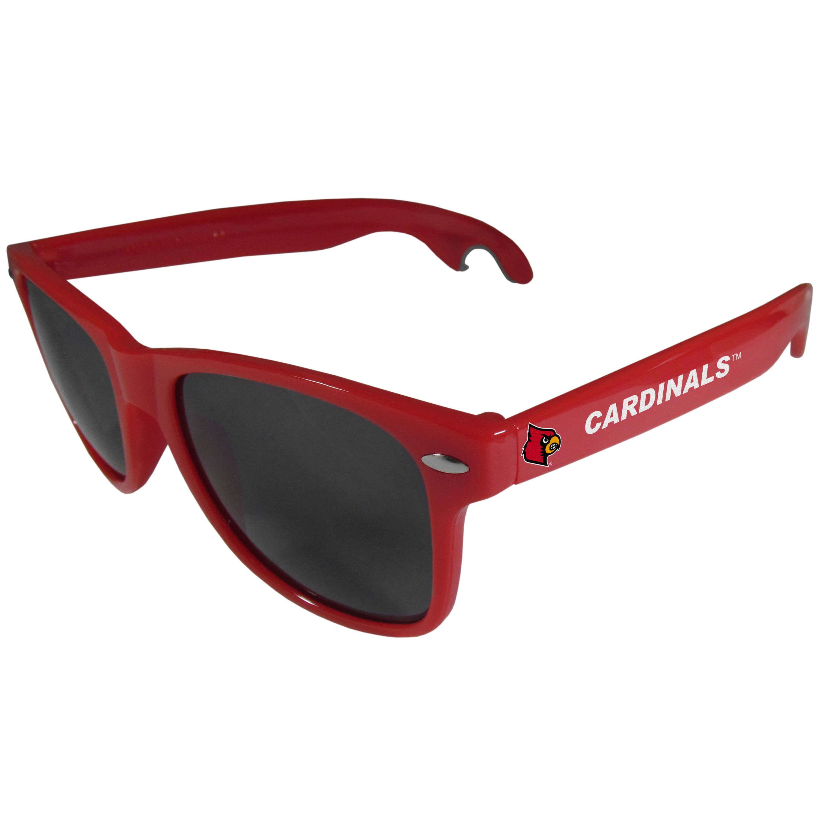 Louisville Cardinals Beachfarer Bottle Opener Sunglasses, Red - Seriously, these sunglasses open bottles! Keep the party going with these amazing Louisville Cardinals bottle opener sunglasses. The stylish retro frames feature team designs on the arms and functional bottle openers on the end of the arms. Whether you are at the beach or having a backyard BBQ on game day, these shades will keep your eyes protected with 100% UVA/UVB protection and keep you hydrated with the handy bottle opener arms.