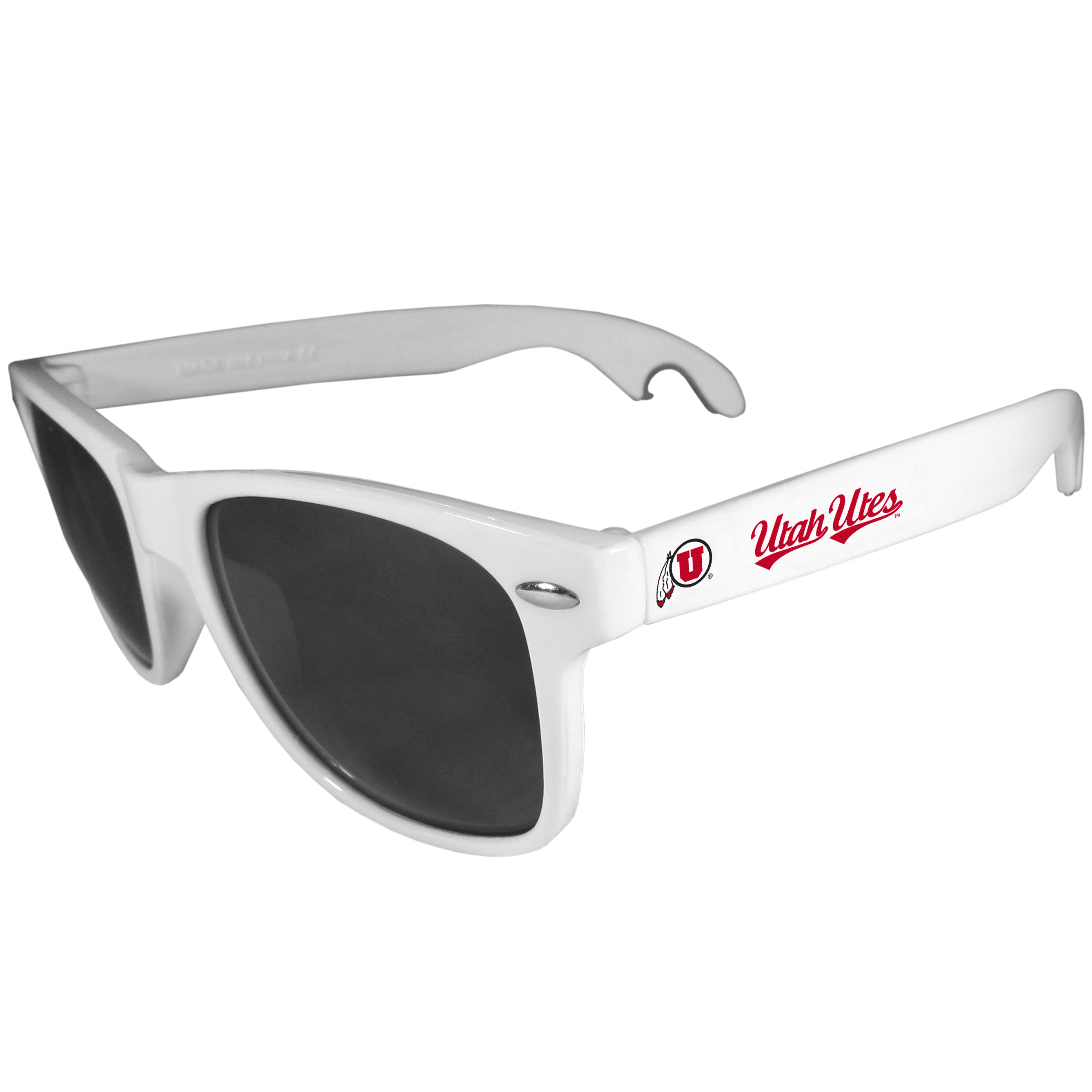Utah Utes Beachfarer Bottle Opener Sunglasses, White - Seriously, these sunglasses open bottles! Keep the party going with these amazing Utah Utes bottle opener sunglasses. The stylish retro frames feature team designs on the arms and functional bottle openers on the end of the arms. Whether you are at the beach or having a backyard BBQ on game day, these shades will keep your eyes protected with 100% UVA/UVB protection and keep you hydrated with the handy bottle opener arms.