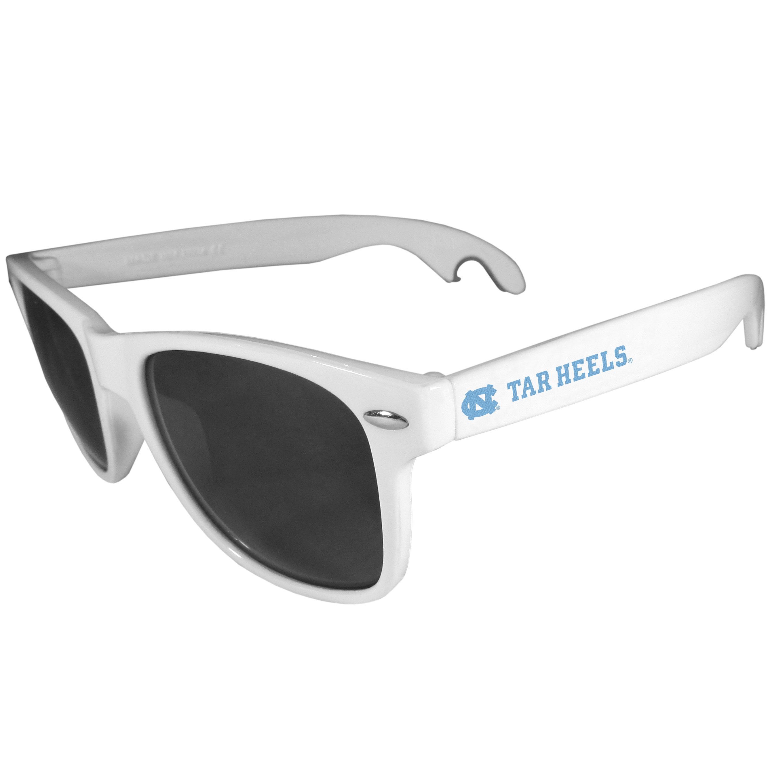 N. Carolina Tar Heels Beachfarer Bottle Opener Sunglasses, White - Seriously, these sunglasses open bottles! Keep the party going with these amazing N. Carolina Tar Heels bottle opener sunglasses. The stylish retro frames feature team designs on the arms and functional bottle openers on the end of the arms. Whether you are at the beach or having a backyard BBQ on game day, these shades will keep your eyes protected with 100% UVA/UVB protection and keep you hydrated with the handy bottle opener arms.