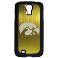 Iowa Hawkeyes Etched Samsung Galaxy S4 Case - This ultra cool Iowa Hawkeyes Etched Samsung Galaxy S4 hard shell snap on case provides great protection for the phone while the soft rubber finish adds to your grip to help prevent dropping the phone. This stylish case is finished off with a brushed metal team plate with laser etched Iowa Hawkeyes team logo. Thank you for shopping with CrazedOutSports.com