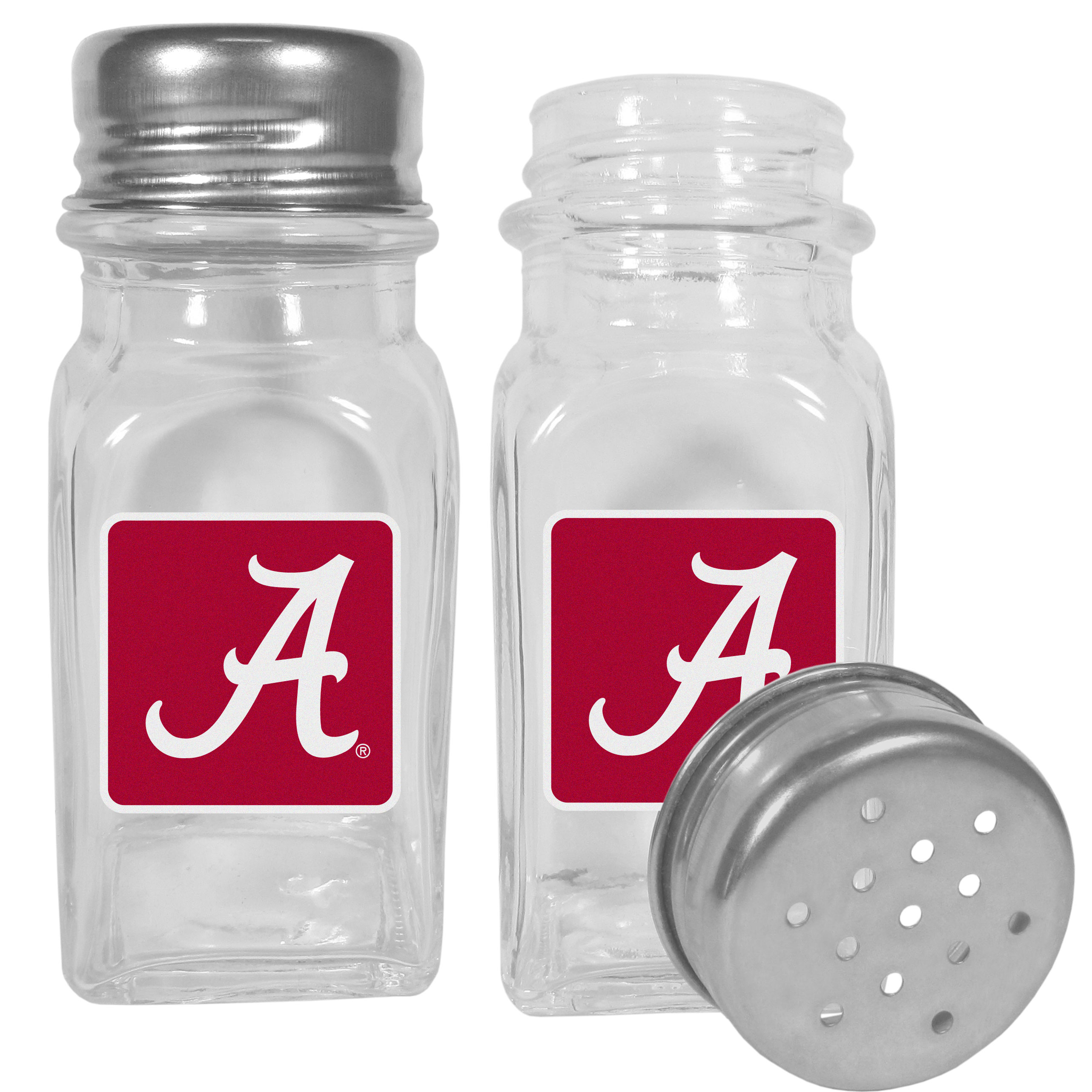 Alabama Crimson Tide Graphics Salt & Pepper Shaker - No tailgate party is complete without your Alabama Crimson Tide salt & pepper shakers featuring bright team logos. The diner replica salt and pepper shakers are glass with screw top lids. These team shakers are a great grill accessory whether you are barbecuing on the patio, picnicing or having a game day party.