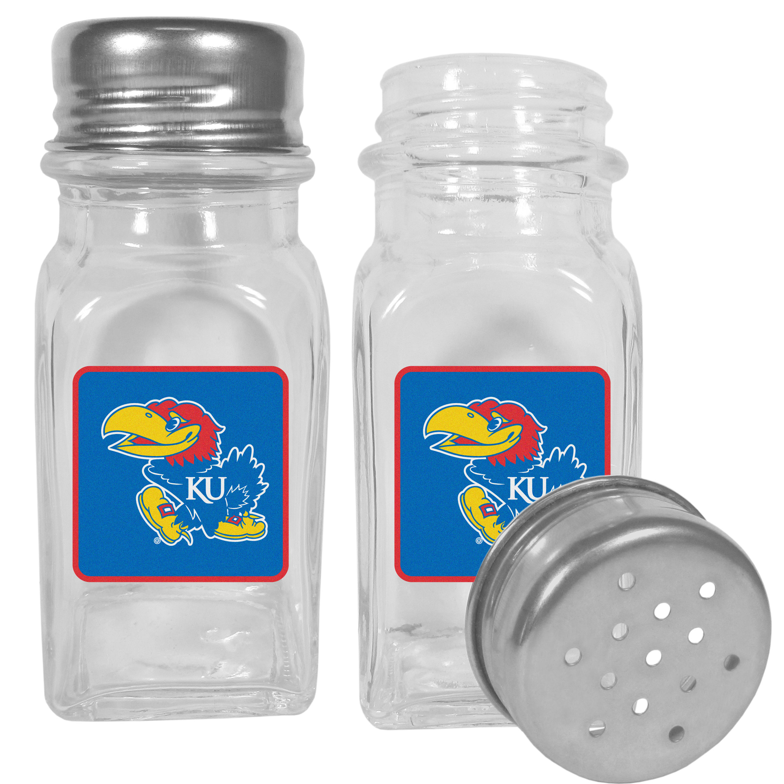 Kansas Jayhawks Graphics Salt & Pepper Shaker - No tailgate party is complete without your Kansas Jayhawks salt & pepper shakers featuring bright team logos. The diner replica salt and pepper shakers are glass with screw top lids. These team shakers are a great grill accessory whether you are barbecuing on the patio, picnicing or having a game day party.