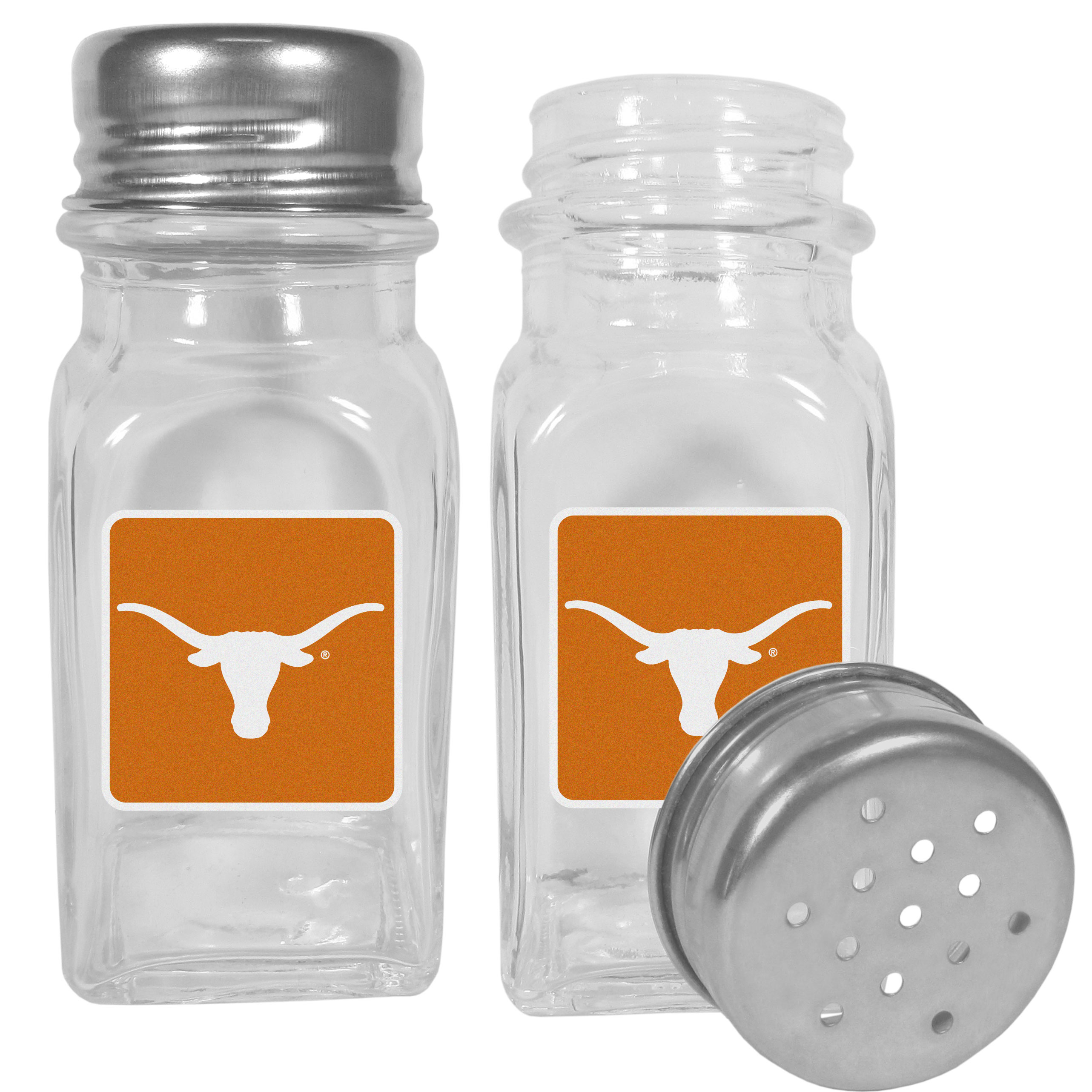 Texas Longhorns Graphics Salt & Pepper Shaker - No tailgate party is complete without your Texas Longhorns salt & pepper shakers featuring bright team logos. The diner replica salt and pepper shakers are glass with screw top lids. These team shakers are a great grill accessory whether you are barbecuing on the patio, picnicing or having a game day party.