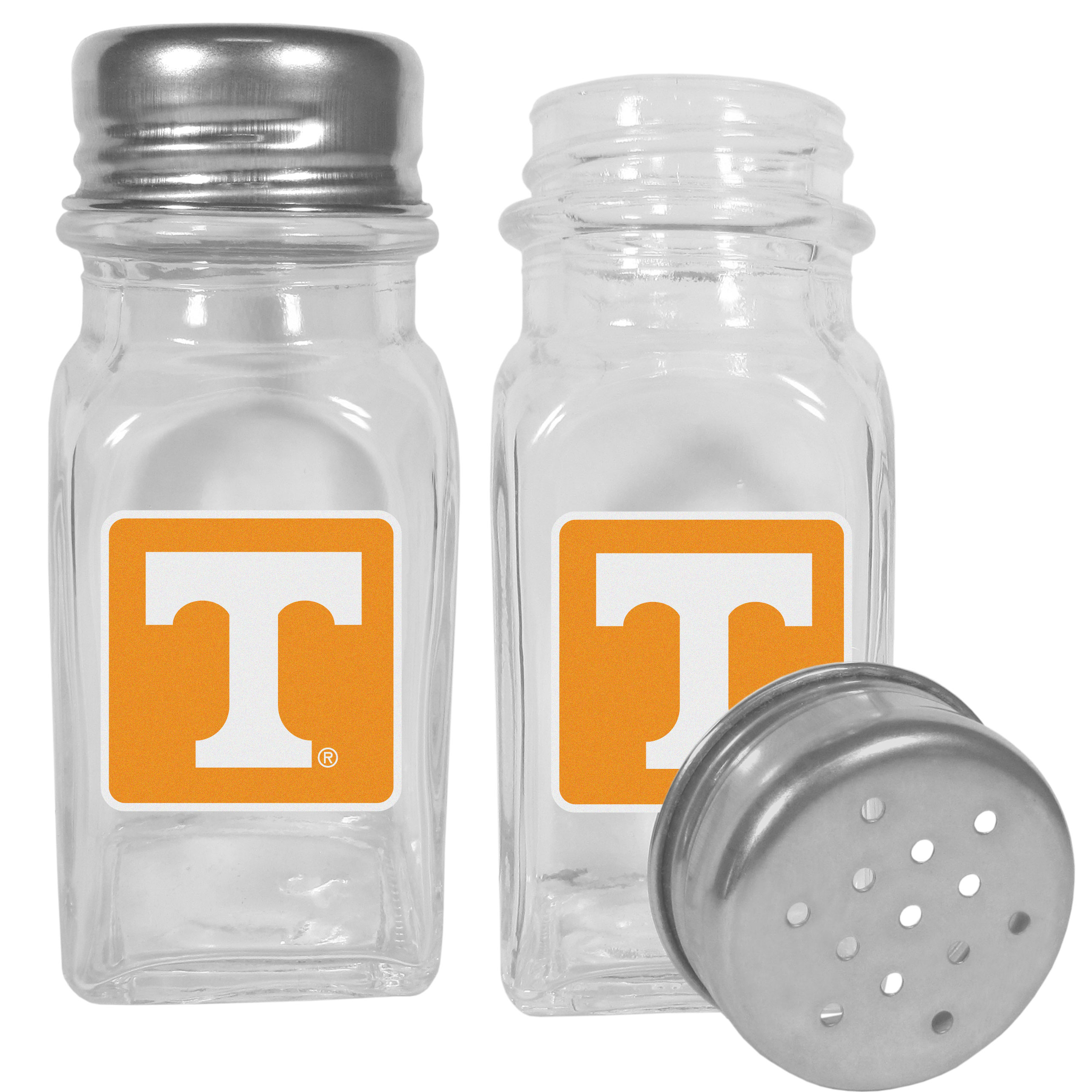 Tennessee Volunteers Graphics Salt and Pepper Shaker - No tailgate party is complete without your Tennessee Volunteers salt & pepper shakers featuring bright team logos. The diner replica salt and pepper shakers are glass with screw top lids. These team shakers are a great grill accessory whether you are barbecuing on the patio, picnicing or having a game day party.