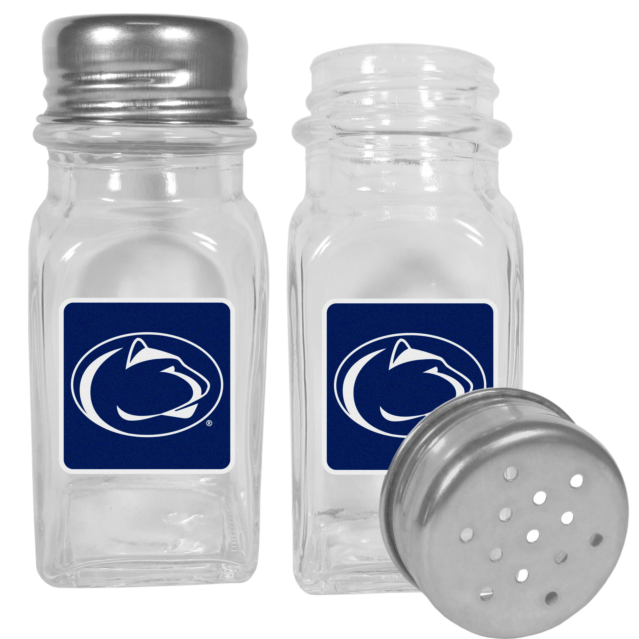 Penn St. Nittany Lions Graphics Salt & Pepper Shaker - No tailgate party is complete without your Penn St. Nittany Lions salt & pepper shakers featuring bright team logos. The diner replica salt and pepper shakers are glass with screw top lids. These team shakers are a great grill accessory whether you are barbecuing on the patio, picnicing or having a game day party.