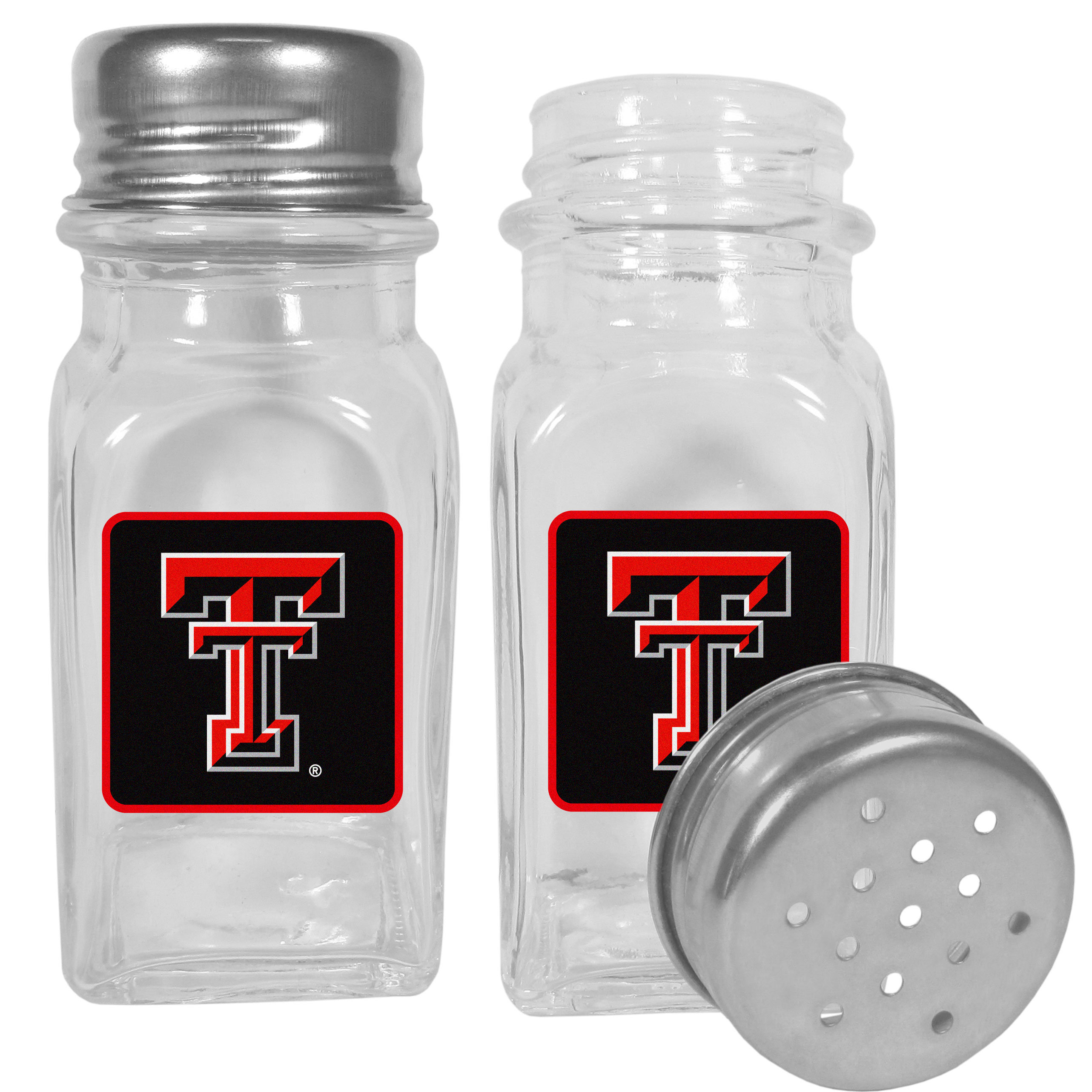 Texas Tech Raiders Graphics Salt & Pepper Shaker - No tailgate party is complete without your Texas Tech Raiders salt & pepper shakers featuring bright team logos. The diner replica salt and pepper shakers are glass with screw top lids. These team shakers are a great grill accessory whether you are barbecuing on the patio, picnicing or having a game day party.