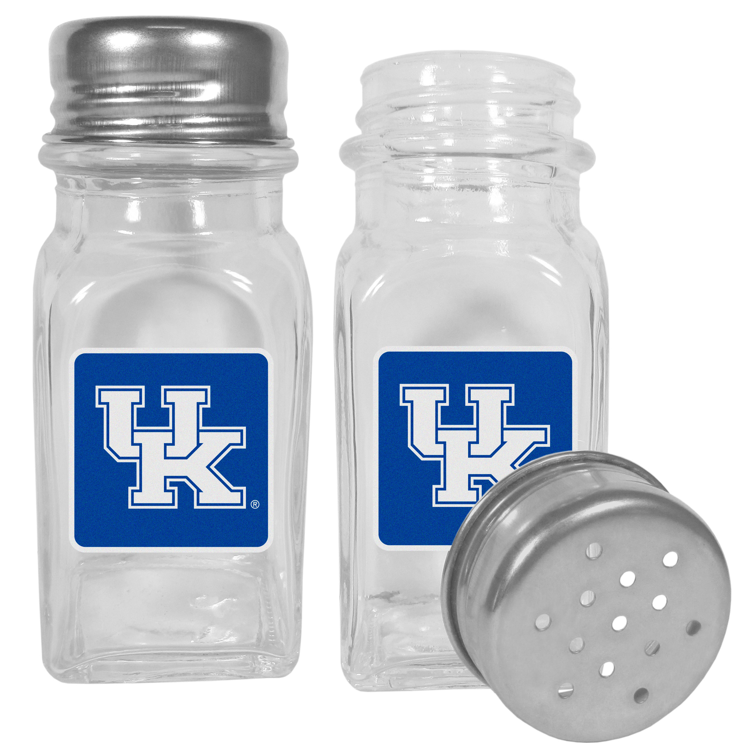 Kentucky Wildcats Graphics Salt and Pepper Shaker - No tailgate party is complete without your Kentucky Wildcats salt & pepper shakers featuring bright team logos. The diner replica salt and pepper shakers are glass with screw top lids. These team shakers are a great grill accessory whether you are barbecuing on the patio, picnicing or having a game day party.