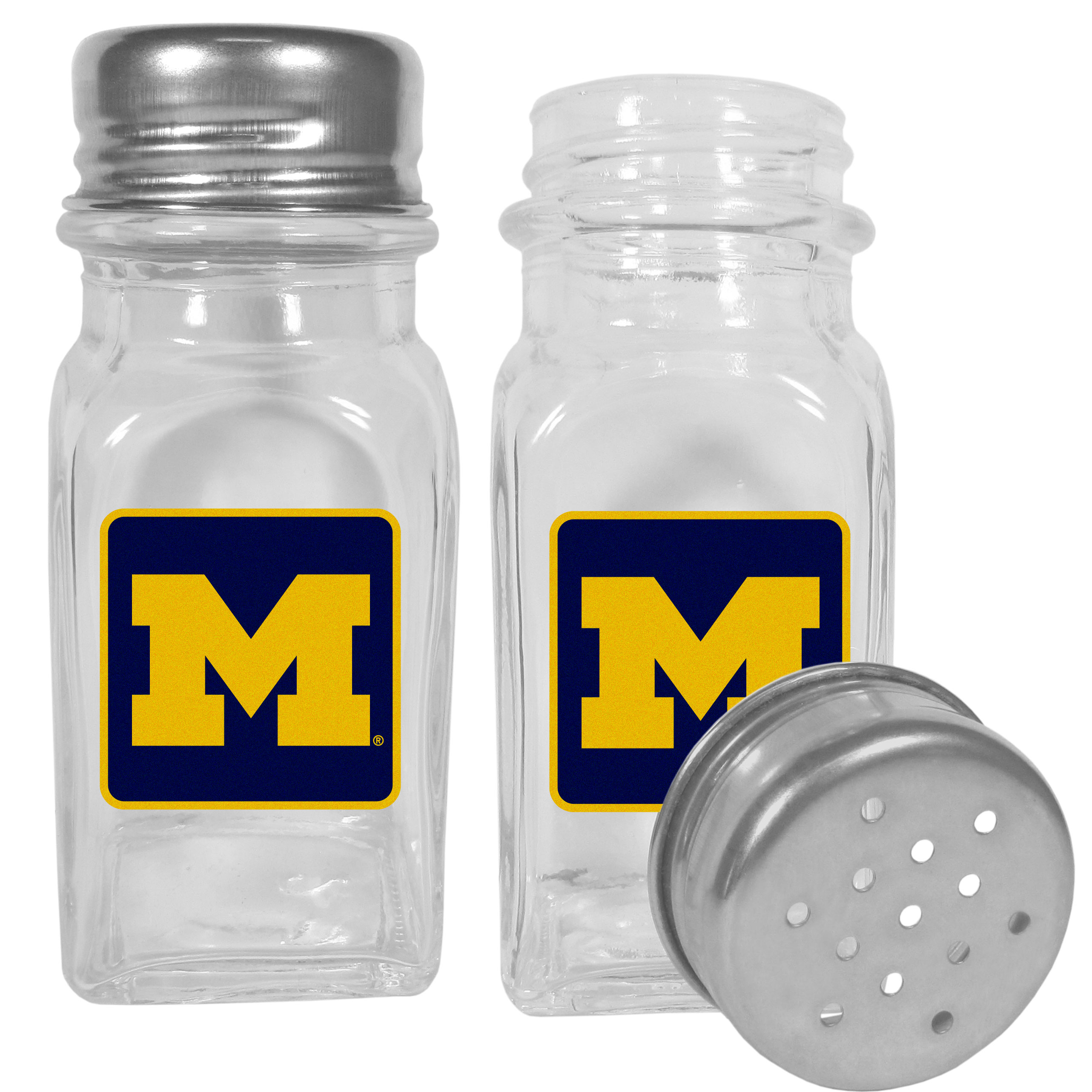 Michigan Wolverines Graphics Salt and Pepper Shaker - No tailgate party is complete without your Michigan Wolverines salt & pepper shakers featuring bright team logos. The diner replica salt and pepper shakers are glass with screw top lids. These team shakers are a great grill accessory whether you are barbecuing on the patio, picnicing or having a game day party.