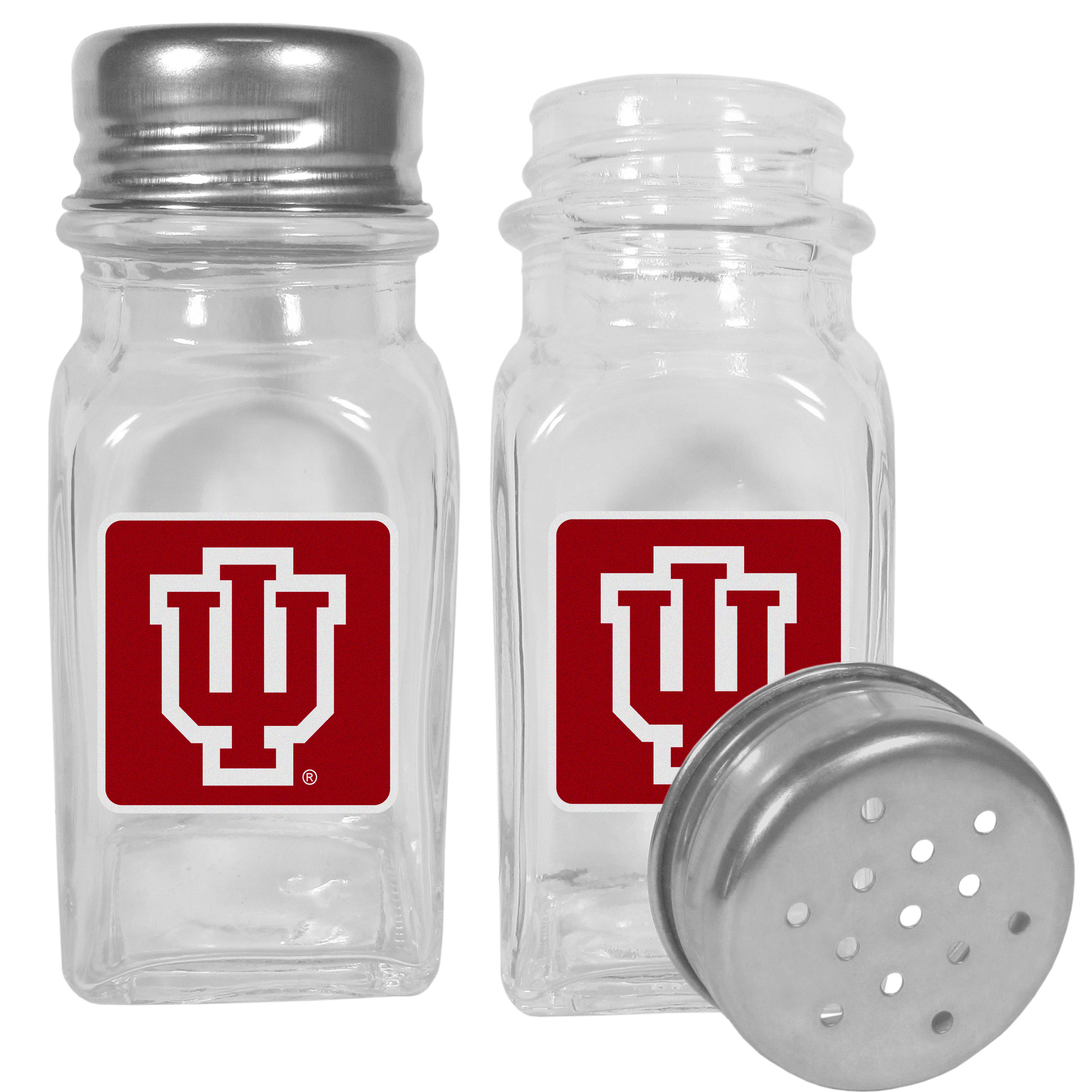 Indiana Hoosiers Graphics Salt and Pepper Shaker - No tailgate party is complete without your Indiana Hoosiers salt & pepper shakers featuring bright team logos. The diner replica salt and pepper shakers are glass with screw top lids. These team shakers are a great grill accessory whether you are barbecuing on the patio, picnicing or having a game day party.