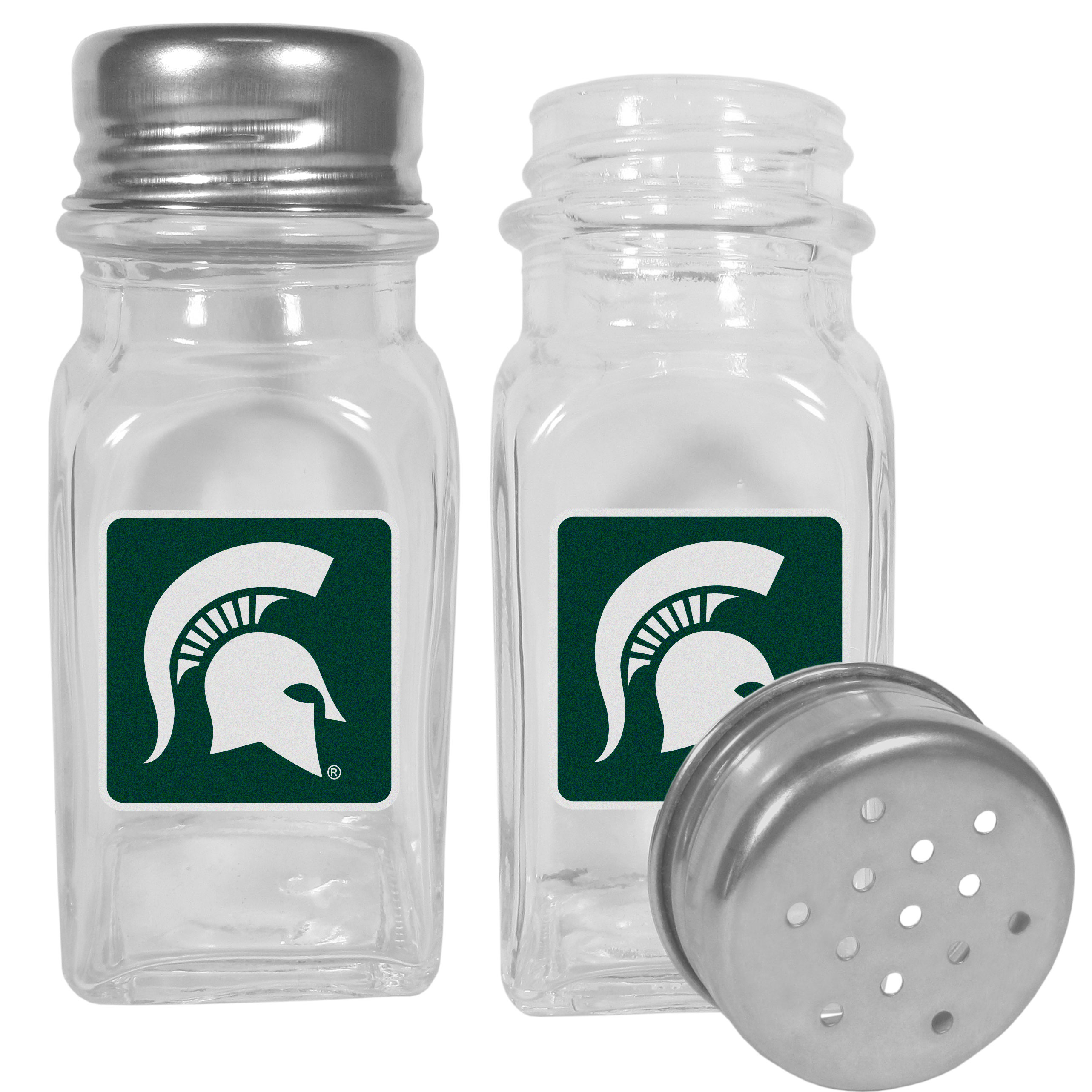 Michigan St. Spartans Graphics Salt and Pepper Shaker - No tailgate party is complete without your Michigan St. Spartans salt & pepper shakers featuring bright team logos. The diner replica salt and pepper shakers are glass with screw top lids. These team shakers are a great grill accessory whether you are barbecuing on the patio, picnicing or having a game day party.