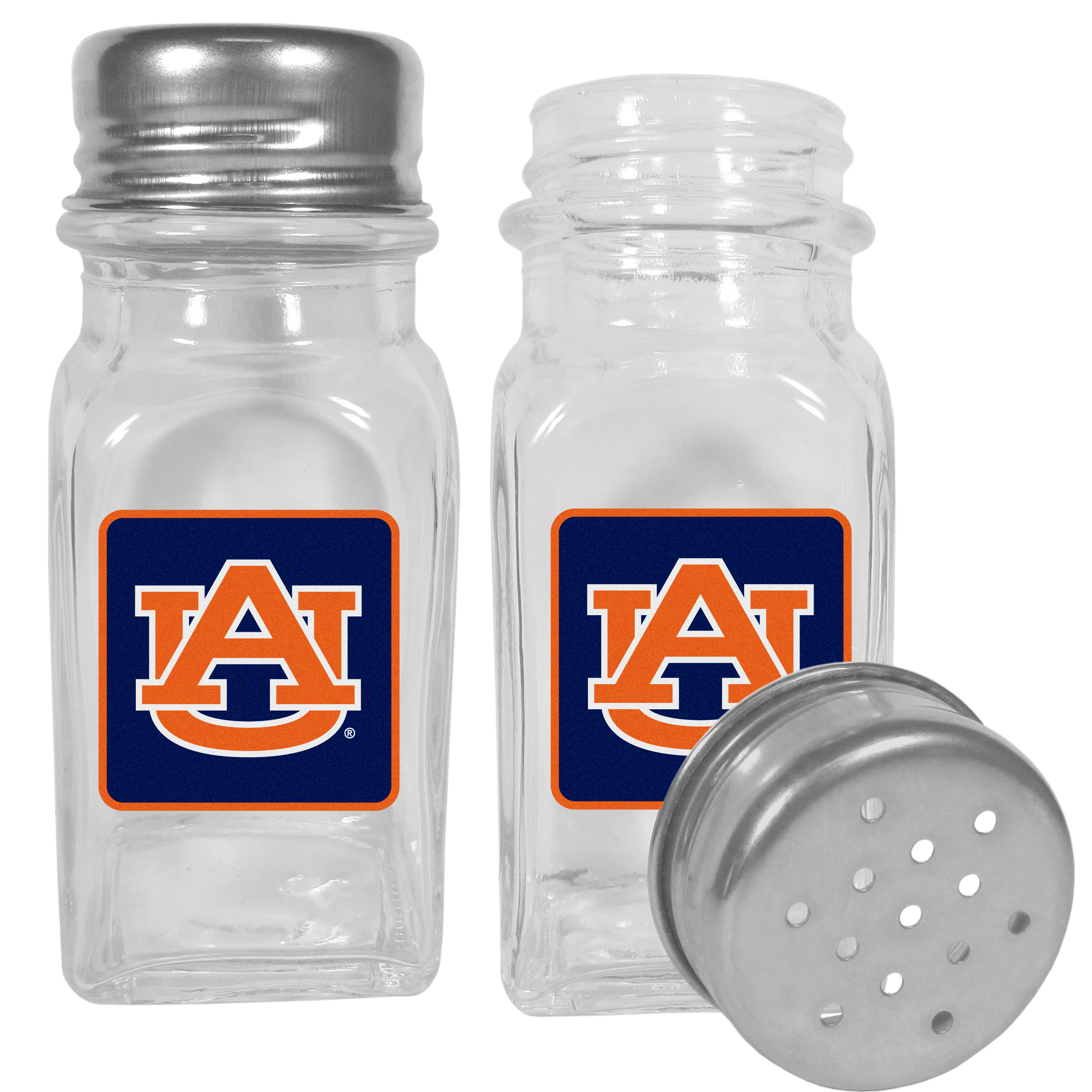 Auburn Tigers Graphics Salt and Pepper Shaker - No tailgate party is complete without your Auburn Tigers salt & pepper shakers featuring bright team logos. The diner replica salt and pepper shakers are glass with screw top lids. These team shakers are a great grill accessory whether you are barbecuing on the patio, picnicing or having a game day party.