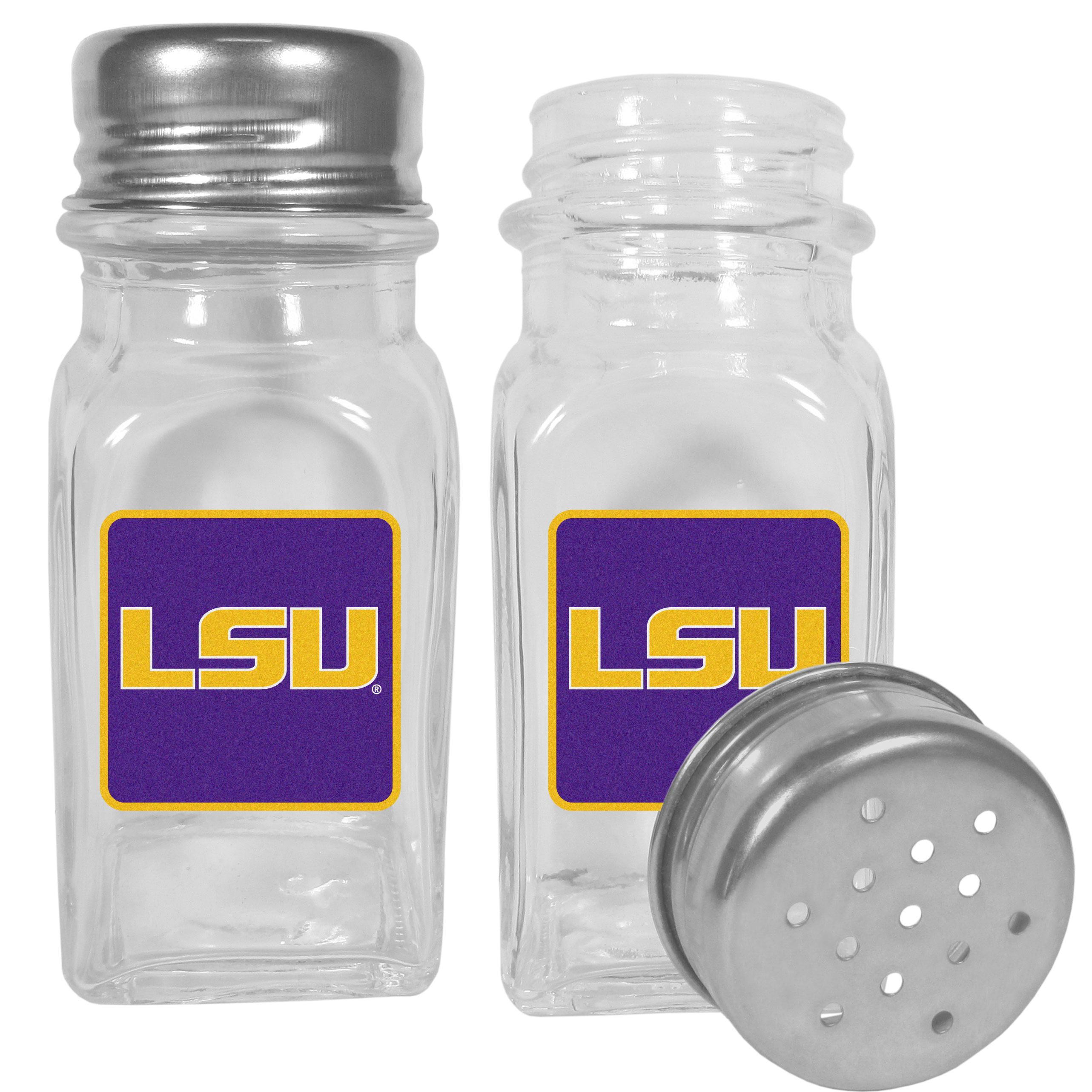 LSU Tigers Graphics Salt and Pepper Shaker - No tailgate party is complete without your LSU Tigers salt & pepper shakers featuring bright team logos. The diner replica salt and pepper shakers are glass with screw top lids. These team shakers are a great grill accessory whether you are barbecuing on the patio, picnicing or having a game day party.
