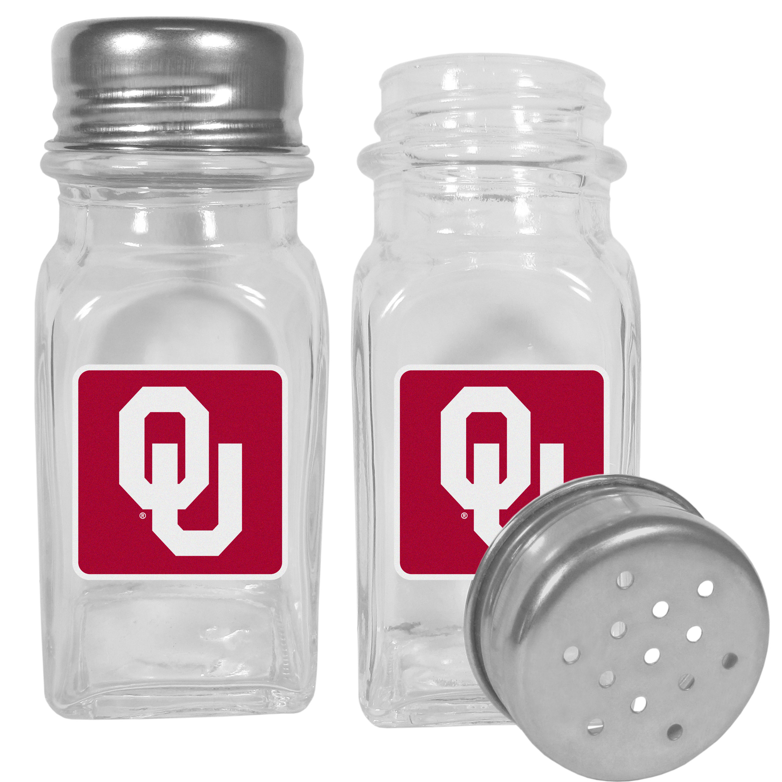 Oklahoma Sooners Graphics Salt and Pepper Shaker - No tailgate party is complete without your Oklahoma Sooners salt & pepper shakers featuring bright team logos. The diner replica salt and pepper shakers are glass with screw top lids. These team shakers are a great grill accessory whether you are barbecuing on the patio, picnicing or having a game day party.