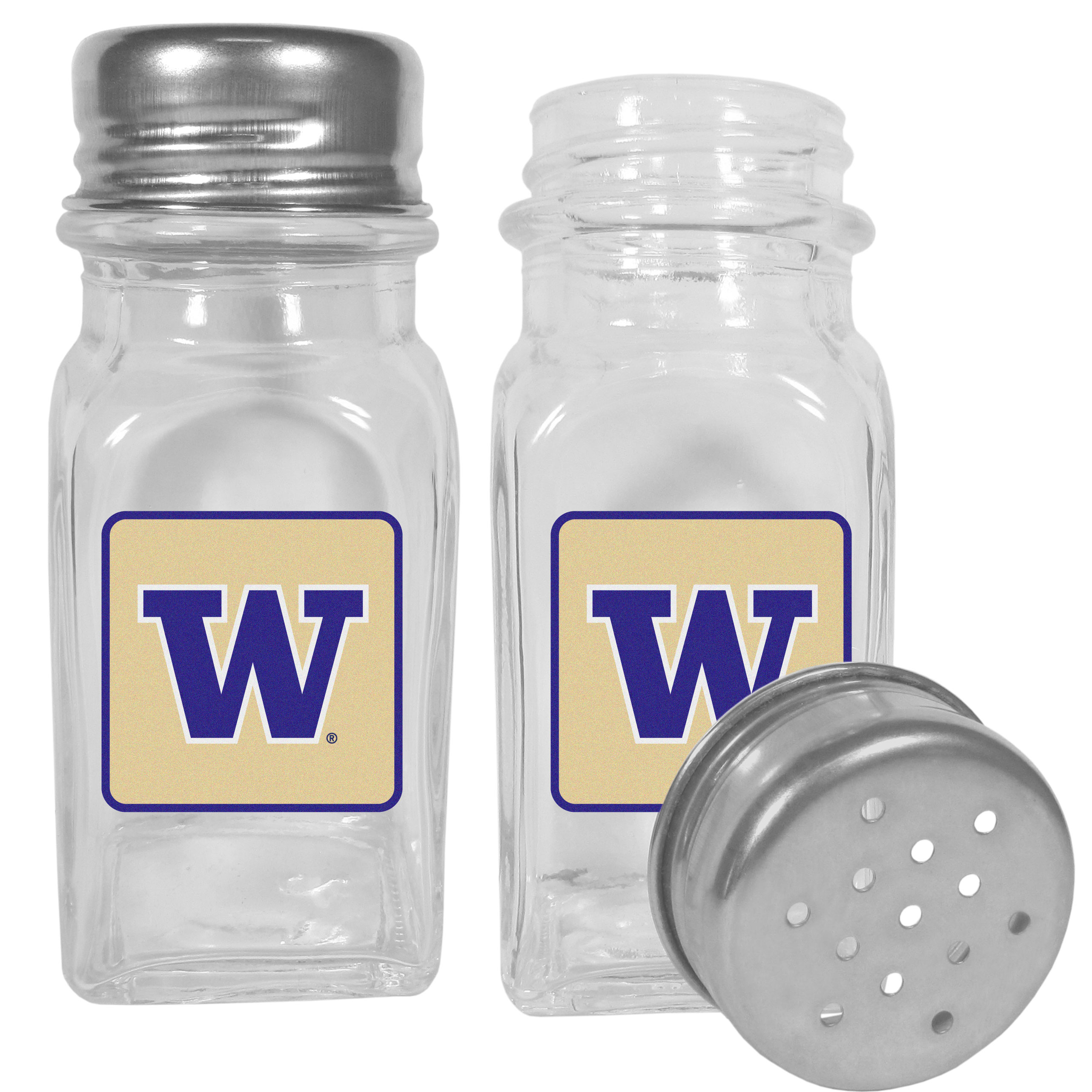 Washington Huskies Graphics Salt & Pepper Shaker - No tailgate party is complete without your Washington Huskies salt & pepper shakers featuring bright team logos. The diner replica salt and pepper shakers are glass with screw top lids. These team shakers are a great grill accessory whether you are barbecuing on the patio, picnicing or having a game day party.
