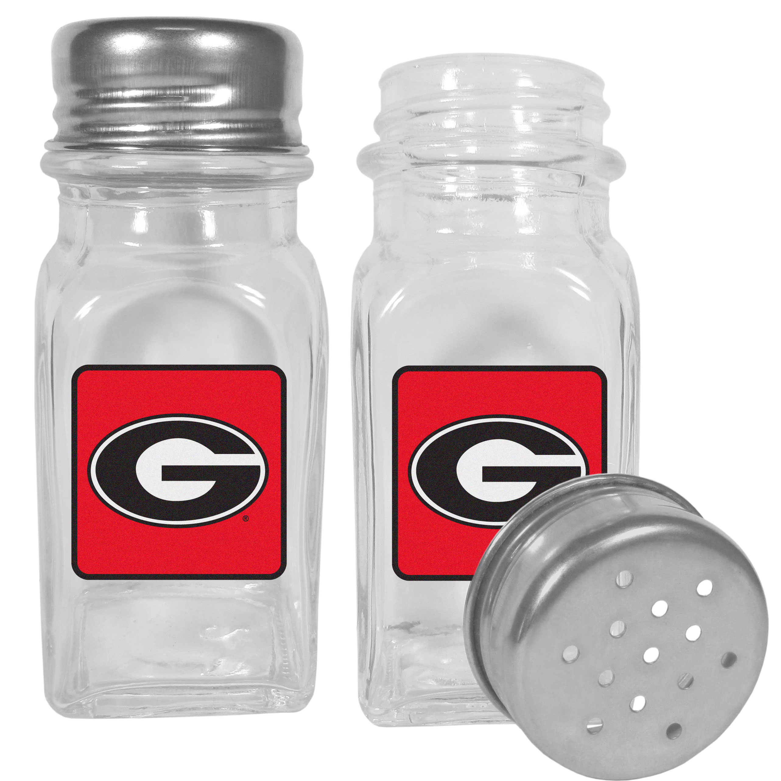 Georgia Bulldogs Graphics Salt and Pepper Shaker - No tailgate party is complete without your Georgia Bulldogs salt & pepper shakers featuring bright team logos. The diner replica salt and pepper shakers are glass with screw top lids. These team shakers are a great grill accessory whether you are barbecuing on the patio, picnicing or having a game day party.