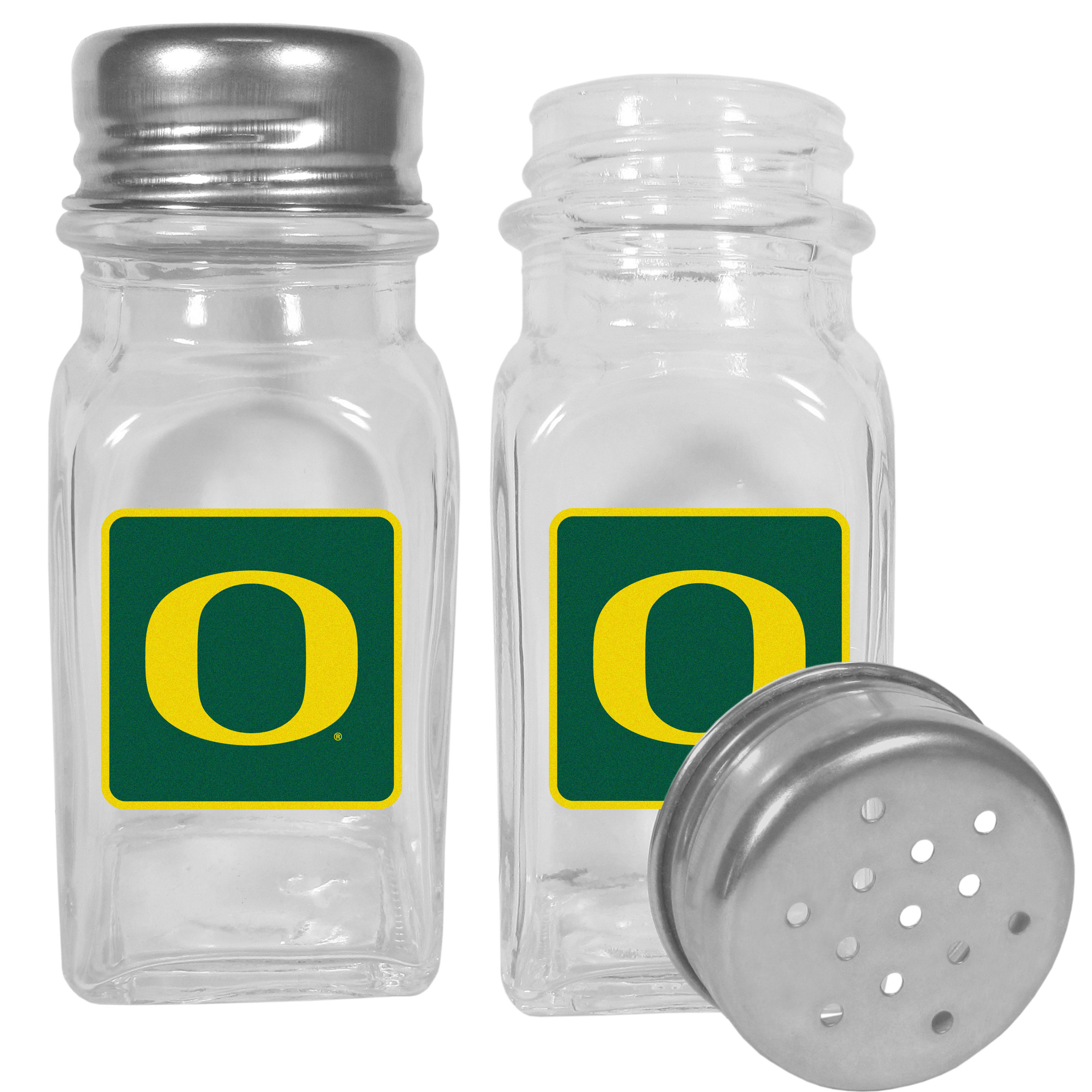 Oregon Ducks Graphics Salt and Pepper Shaker - No tailgate party is complete without your Oregon Ducks salt & pepper shakers featuring bright team logos. The diner replica salt and pepper shakers are glass with screw top lids. These team shakers are a great grill accessory whether you are barbecuing on the patio, picnicing or having a game day party.