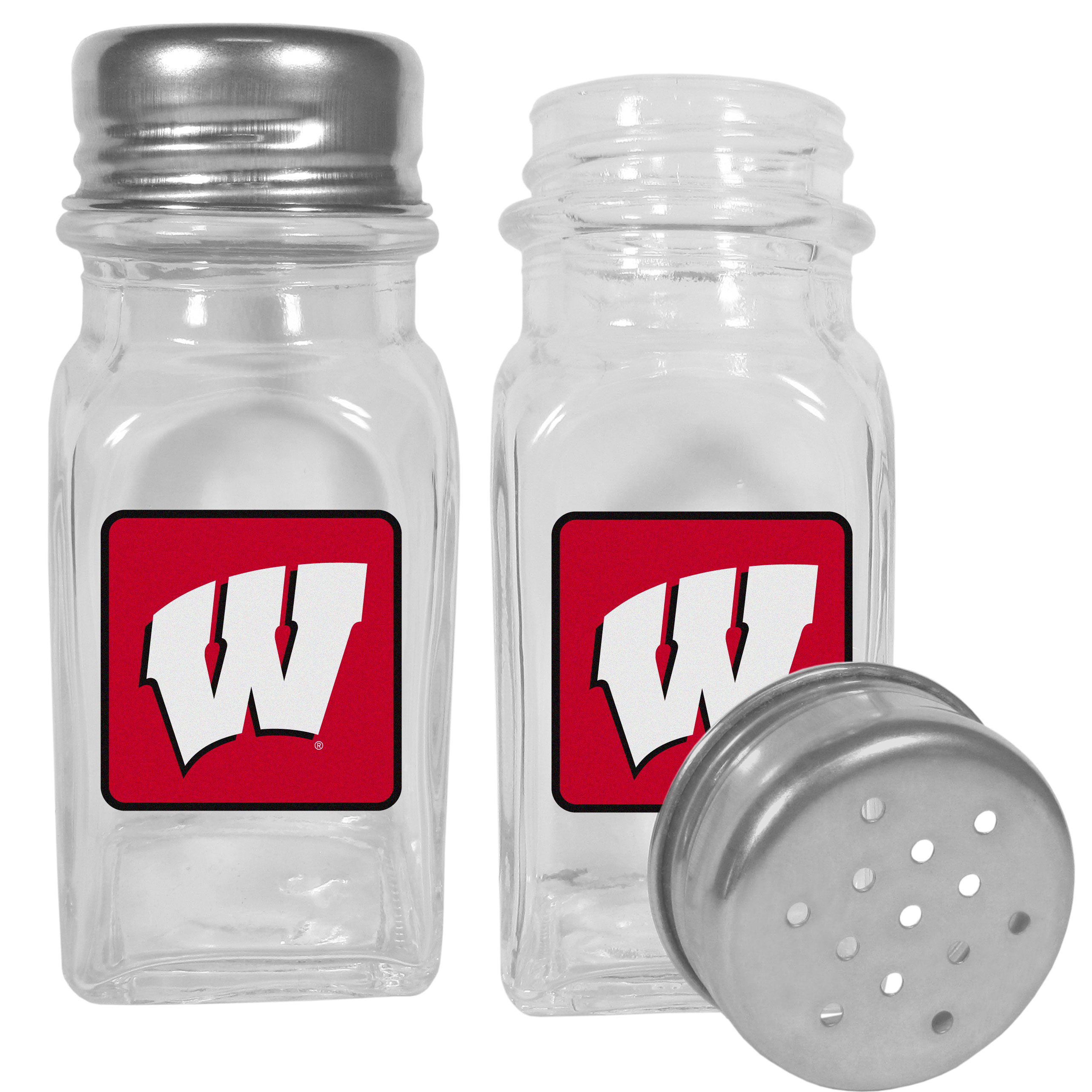 Wisconsin Badgers Graphics Salt and Pepper Shaker - No tailgate party is complete without your Wisconsin Badgers salt & pepper shakers featuring bright team logos. The diner replica salt and pepper shakers are glass with screw top lids. These team shakers are a great grill accessory whether you are barbecuing on the patio, picnicing or having a game day party.