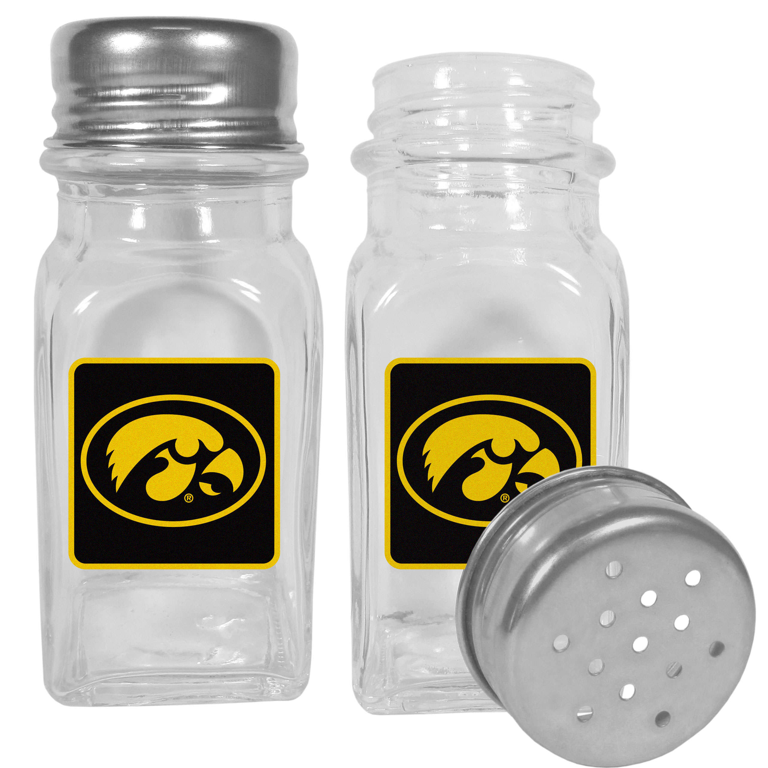Iowa Hawkeyes Graphics Salt & Pepper Shaker - No tailgate party is complete without your Iowa Hawkeyes salt & pepper shakers featuring bright team logos. The diner replica salt and pepper shakers are glass with screw top lids. These team shakers are a great grill accessory whether you are barbecuing on the patio, picnicing or having a game day party.