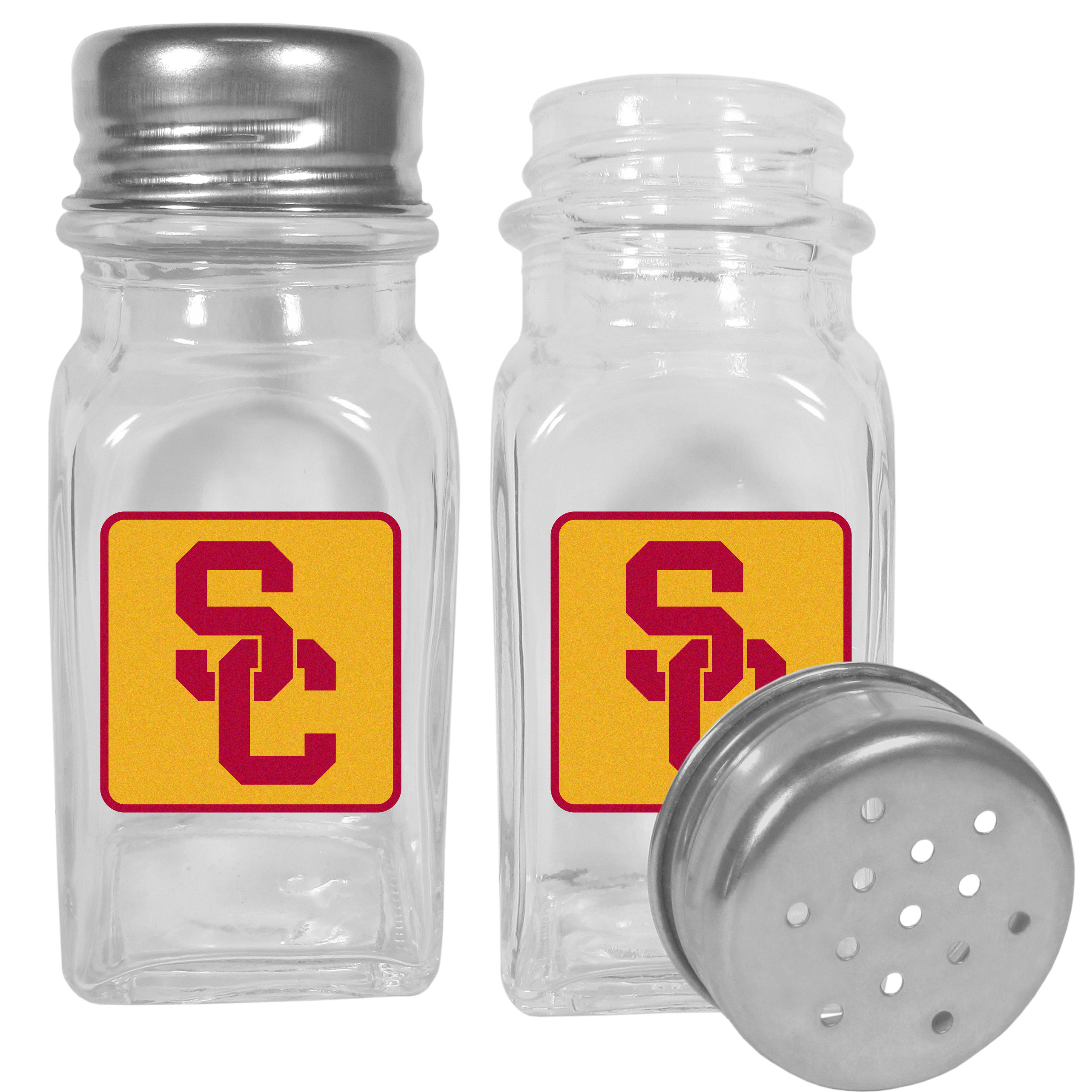 USC Trojans Graphics Salt and Pepper Shaker - No tailgate party is complete without your USC Trojans salt & pepper shakers featuring bright team logos. The diner replica salt and pepper shakers are glass with screw top lids. These team shakers are a great grill accessory whether you are barbecuing on the patio, picnicing or having a game day party.