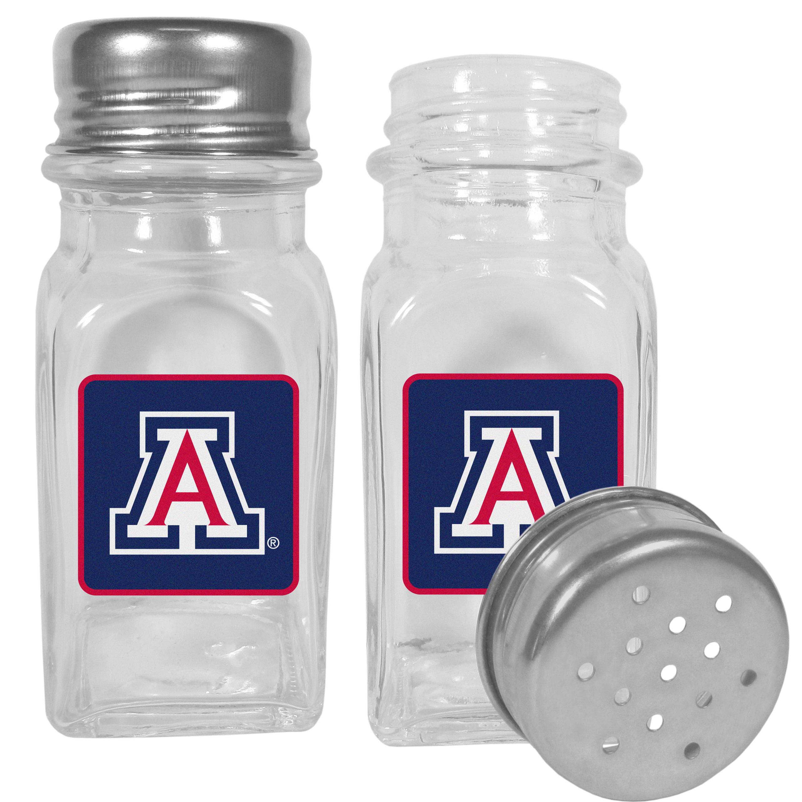 Arizona Wildcats Graphics Salt and Pepper Shaker - No tailgate party is complete without your Arizona Wildcats salt & pepper shakers featuring bright team logos. The diner replica salt and pepper shakers are glass with screw top lids. These team shakers are a great grill accessory whether you are barbecuing on the patio, picnicing or having a game day party.