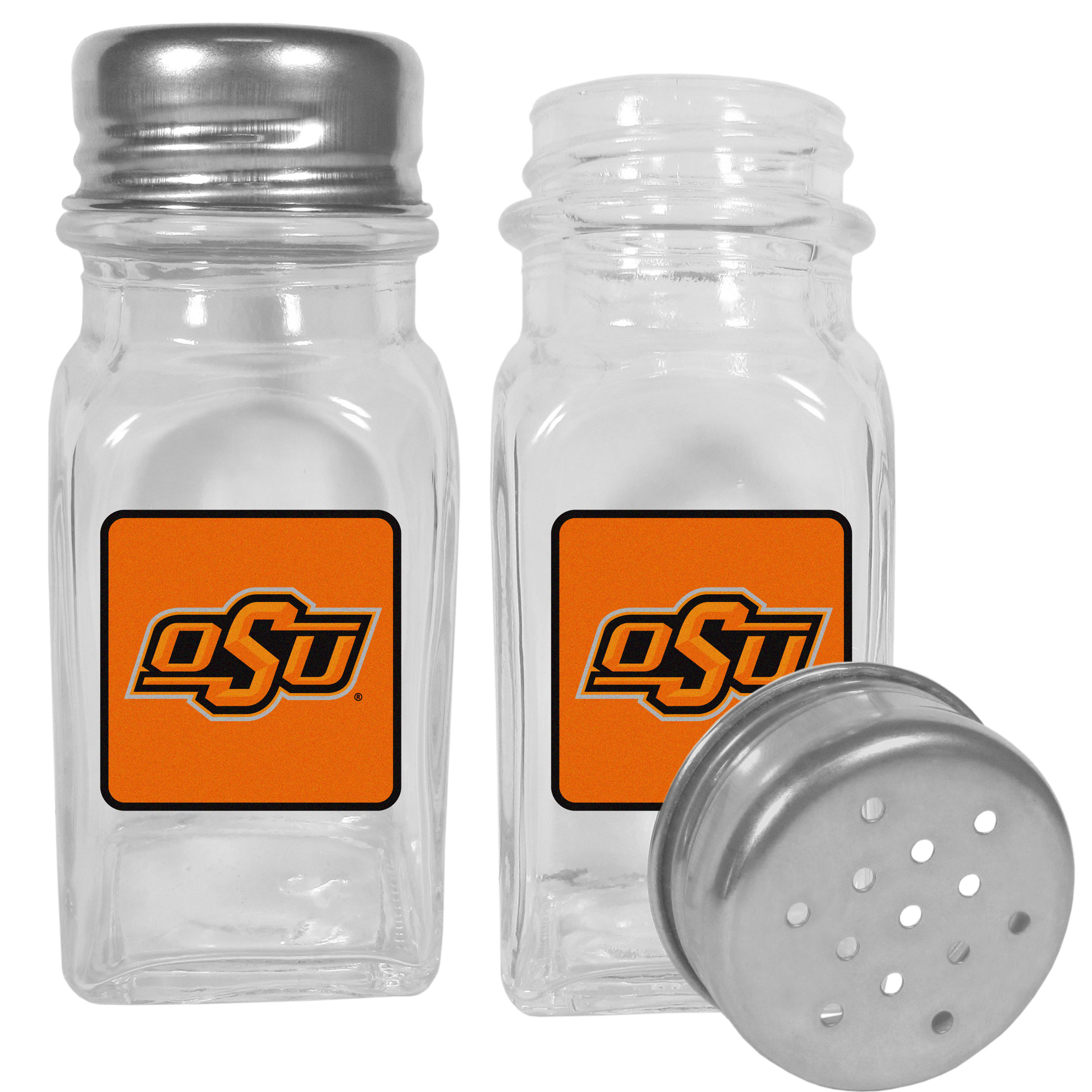 Oklahoma St. Cowboys Graphics Salt and Pepper Shaker - No tailgate party is complete without your Oklahoma St. Cowboys salt & pepper shakers featuring bright team logos. The diner replica salt and pepper shakers are glass with screw top lids. These team shakers are a great grill accessory whether you are barbecuing on the patio, picnicing or having a game day party.
