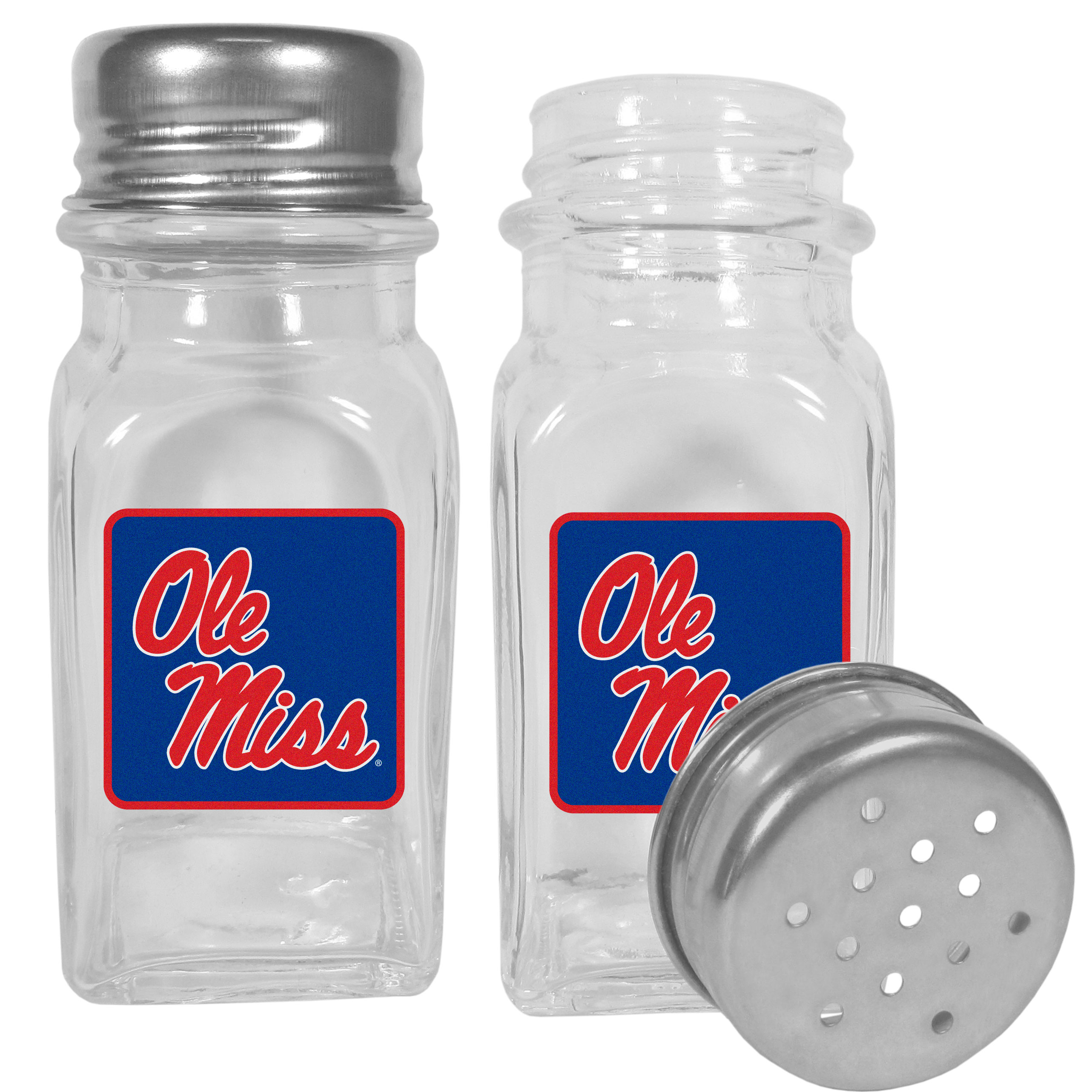 Mississippi Rebels Graphics Salt and Pepper Shaker - No tailgate party is complete without your Mississippi Rebels salt & pepper shakers featuring bright team logos. The diner replica salt and pepper shakers are glass with screw top lids. These team shakers are a great grill accessory whether you are barbecuing on the patio, picnicing or having a game day party.