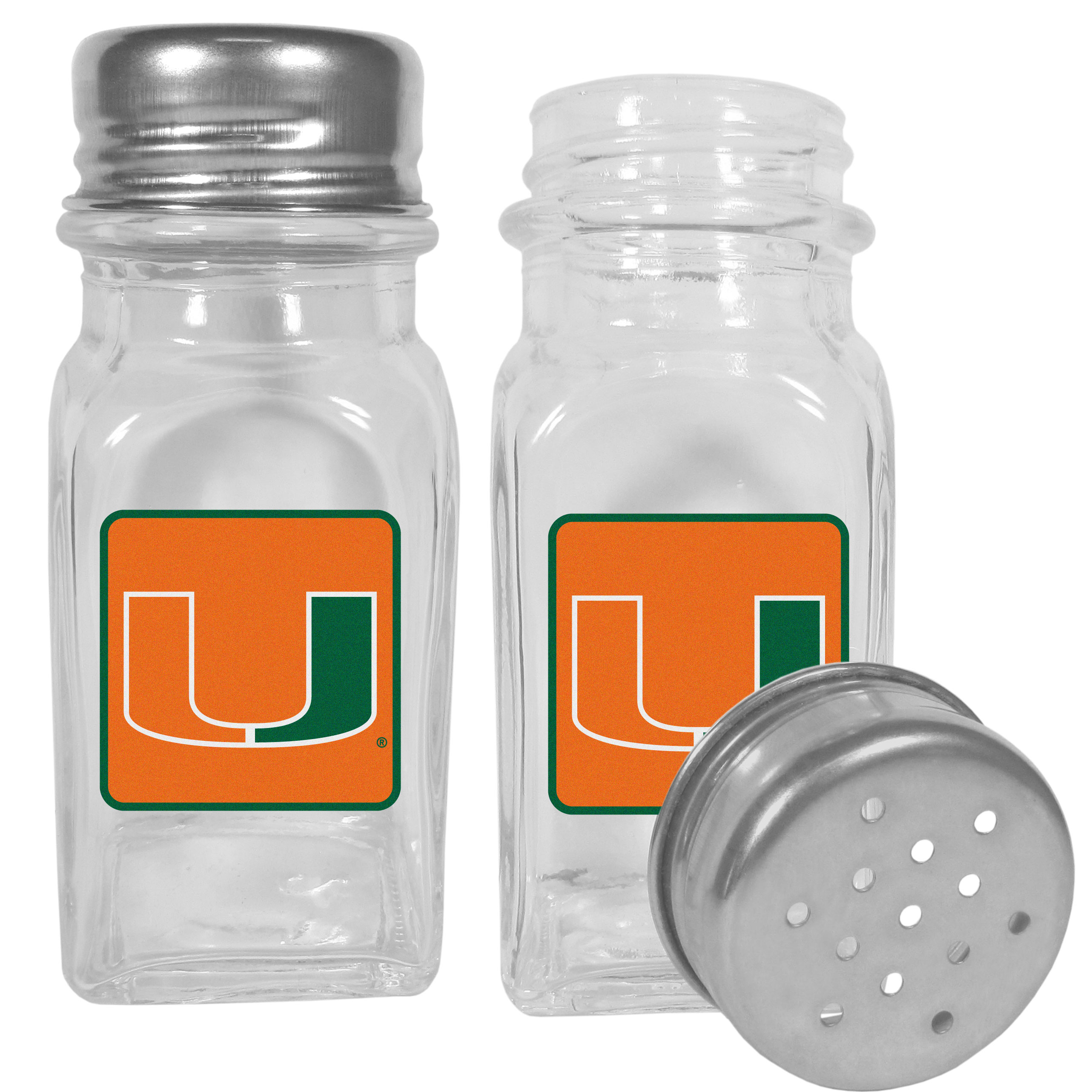 Miami Hurricanes Graphics Salt and Pepper Shaker - No tailgate party is complete without your Miami Hurricanes salt & pepper shakers featuring bright team logos. The diner replica salt and pepper shakers are glass with screw top lids. These team shakers are a great grill accessory whether you are barbecuing on the patio, picnicing or having a game day party.