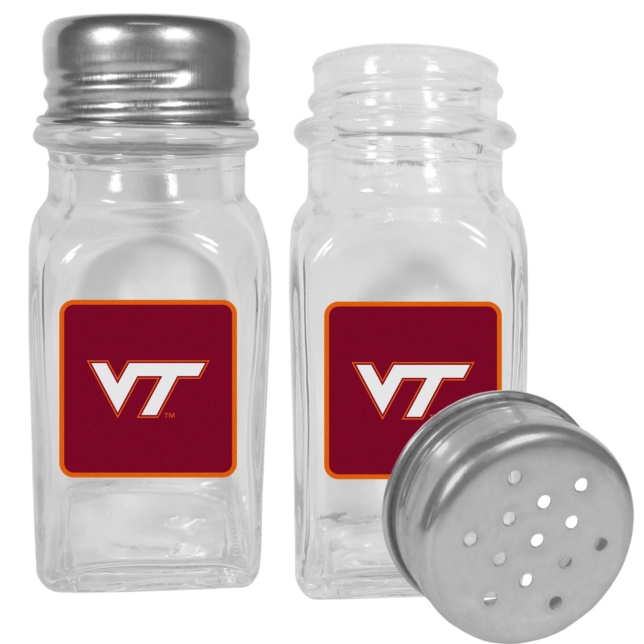 Virginia Tech Hokies Graphics Salt and Pepper Shaker - No tailgate party is complete without your Virginia Tech Hokies salt & pepper shakers featuring bright team logos. The diner replica salt and pepper shakers are glass with screw top lids. These team shakers are a great grill accessory whether you are barbecuing on the patio, picnicing or having a game day party.