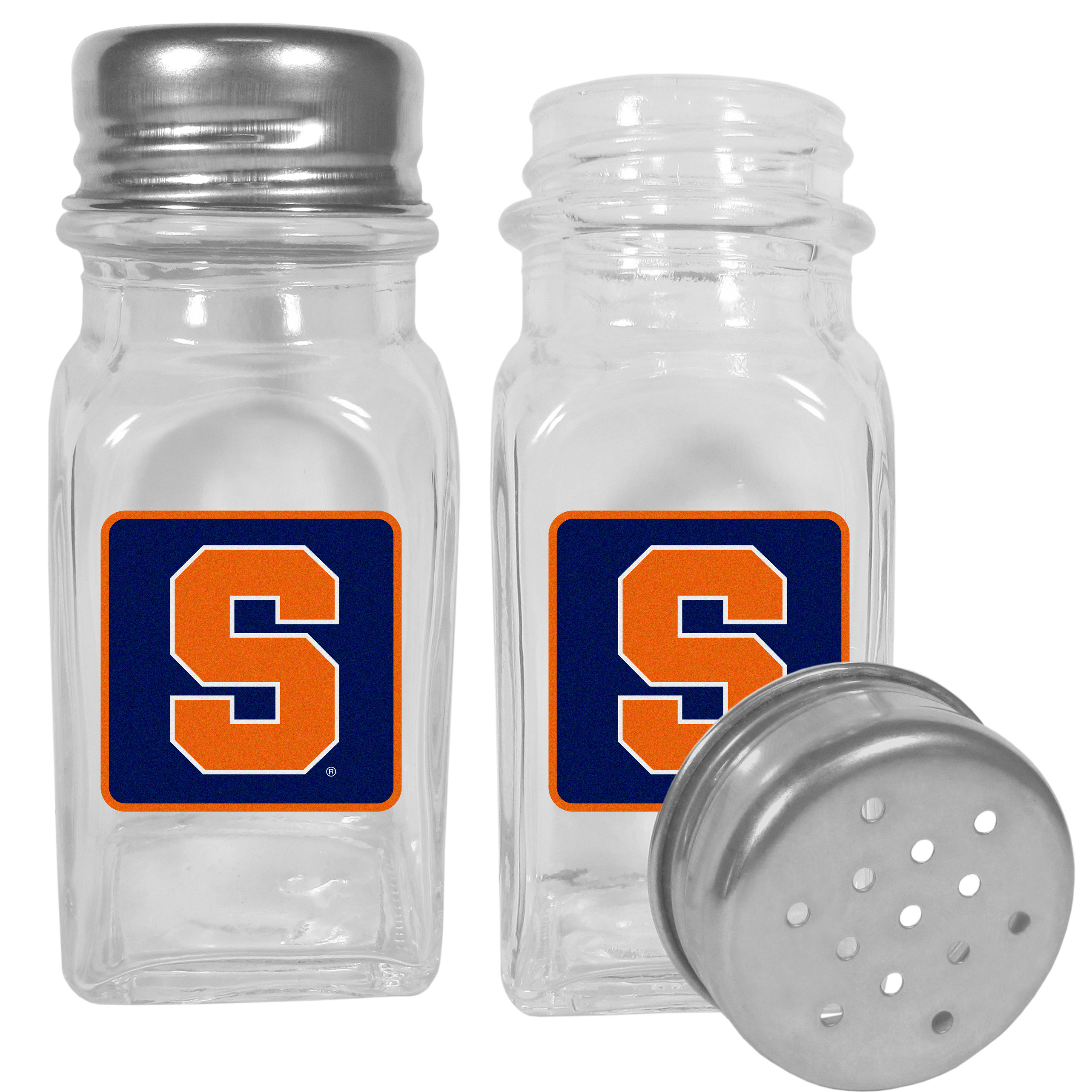 Syracuse Orange Graphics Salt and Pepper Shaker - No tailgate party is complete without your Syracuse Orange salt & pepper shakers featuring bright team logos. The diner replica salt and pepper shakers are glass with screw top lids. These team shakers are a great grill accessory whether you are barbecuing on the patio, picnicing or having a game day party.