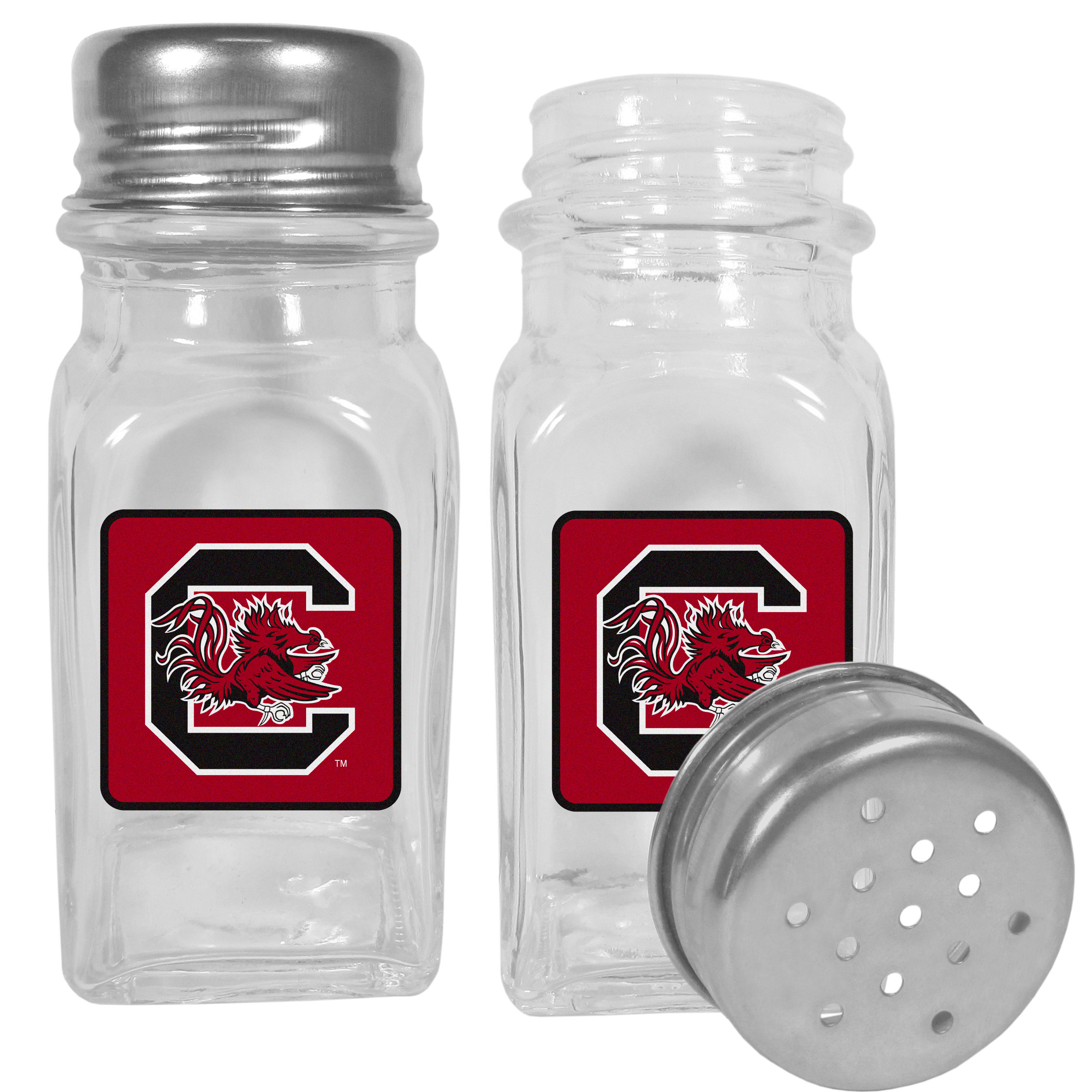 S. Carolina Gamecocks Graphics Salt & Pepper Shaker - No tailgate party is complete without your S. Carolina Gamecocks salt & pepper shakers featuring bright team logos. The diner replica salt and pepper shakers are glass with screw top lids. These team shakers are a great grill accessory whether you are barbecuing on the patio, picnicing or having a game day party.
