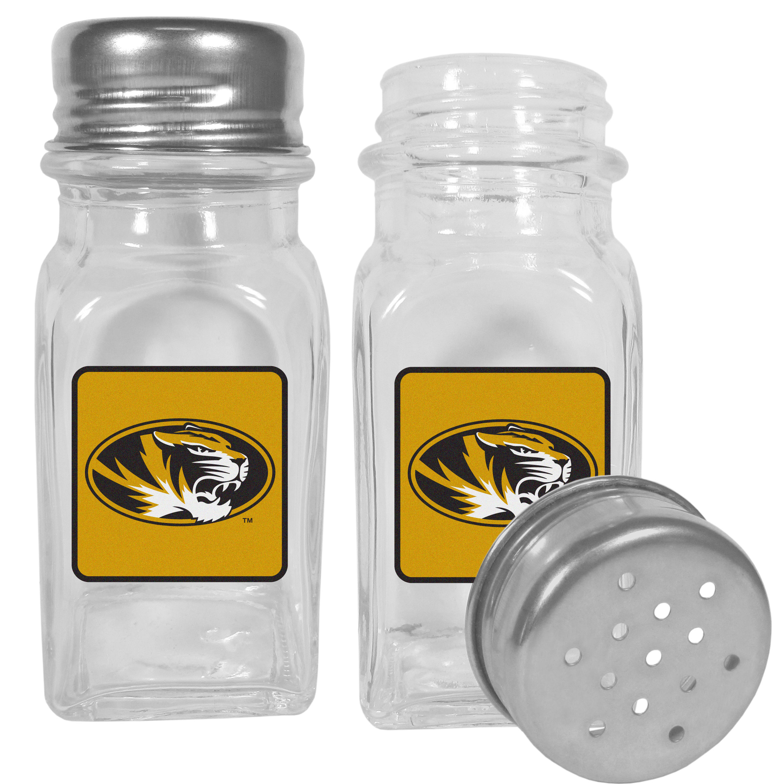 Missouri Tigers Graphics Salt and Pepper Shaker - No tailgate party is complete without your Missouri Tigers salt & pepper shakers featuring bright team logos. The diner replica salt and pepper shakers are glass with screw top lids. These team shakers are a great grill accessory whether you are barbecuing on the patio, picnicing or having a game day party.
