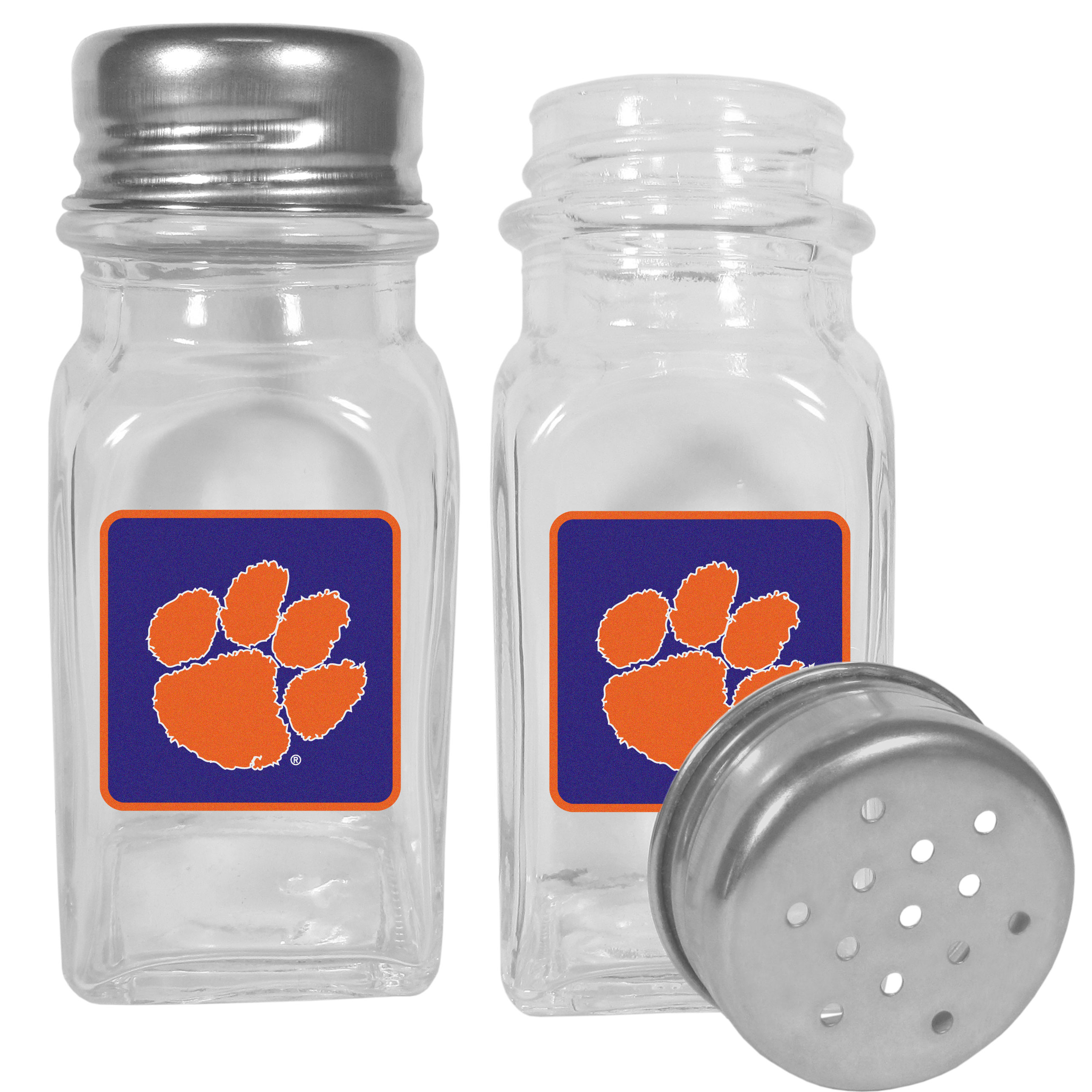 Clemson Tigers Graphics Salt and Pepper Shaker - No tailgate party is complete without your Clemson Tigers salt & pepper shakers featuring bright team logos. The diner replica salt and pepper shakers are glass with screw top lids. These team shakers are a great grill accessory whether you are barbecuing on the patio, picnicing or having a game day party.