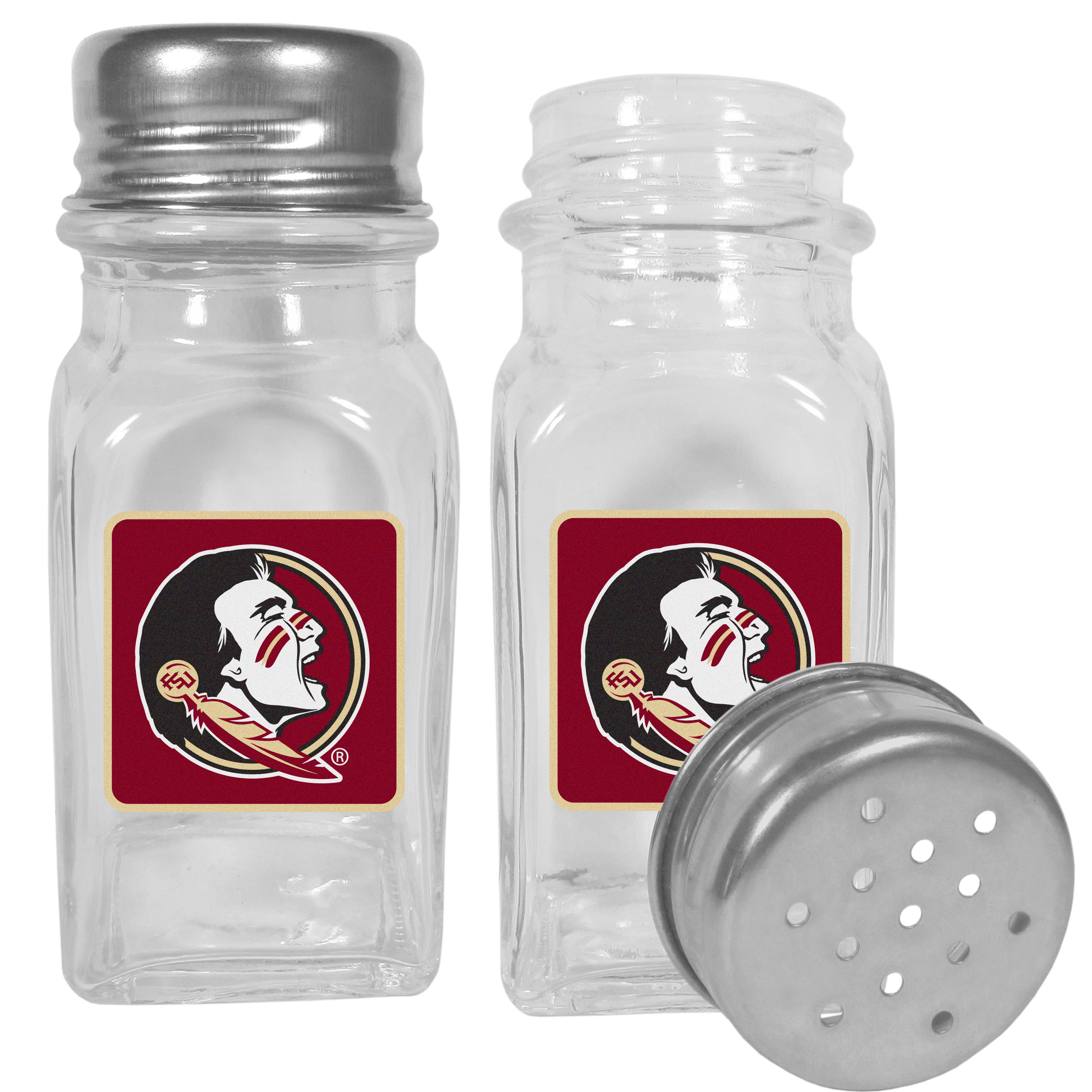 Florida St. Seminoles Graphics Salt and Pepper Shaker - No tailgate party is complete without your Florida St. Seminoles salt & pepper shakers featuring bright team logos. The diner replica salt and pepper shakers are glass with screw top lids. These team shakers are a great grill accessory whether you are barbecuing on the patio, picnicing or having a game day party.