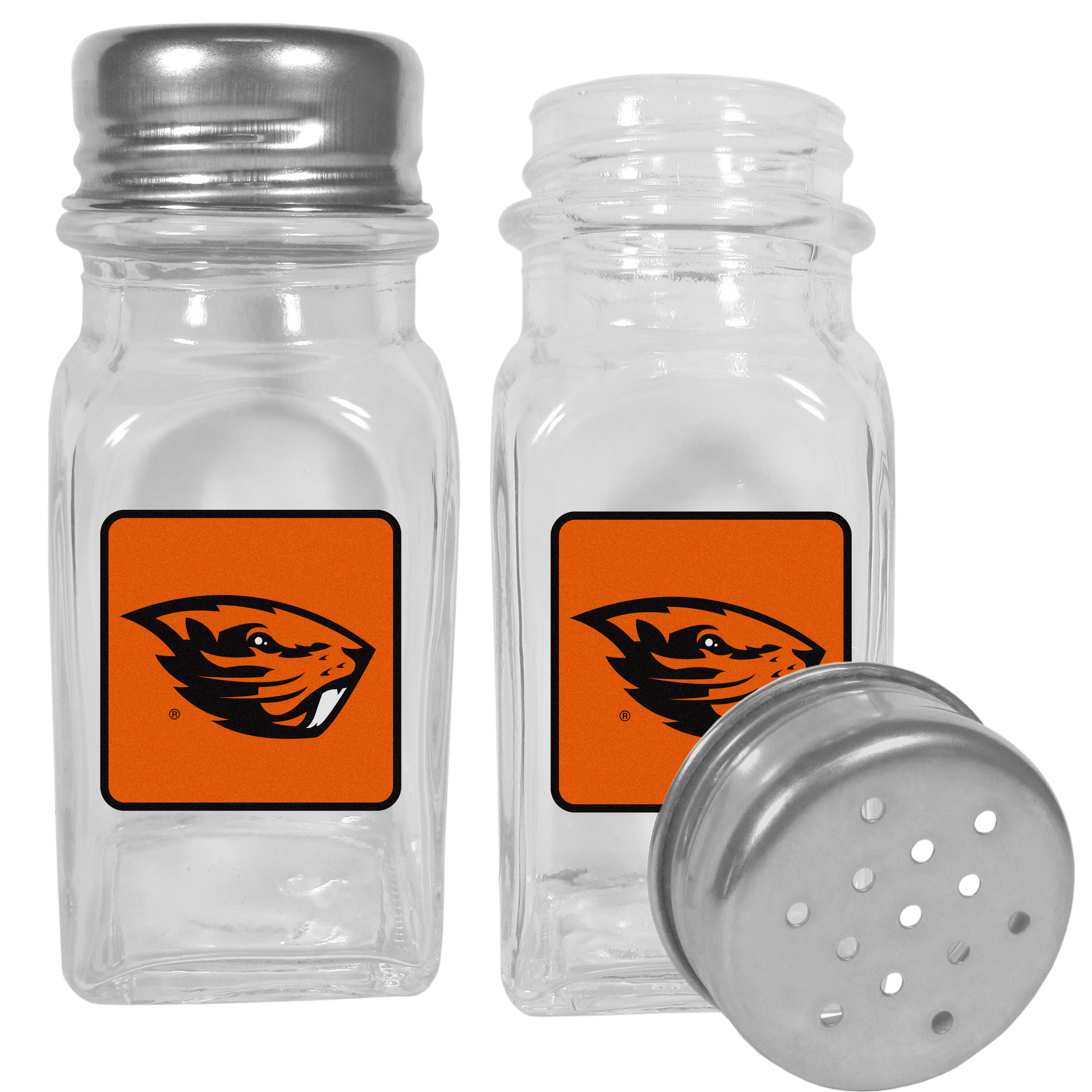 Oregon St. Beavers Graphics Salt & Pepper Shaker - No tailgate party is complete without your Oregon St. Beavers salt & pepper shakers featuring bright team logos. The diner replica salt and pepper shakers are glass with screw top lids. These team shakers are a great grill accessory whether you are barbecuing on the patio, picnicing or having a game day party.