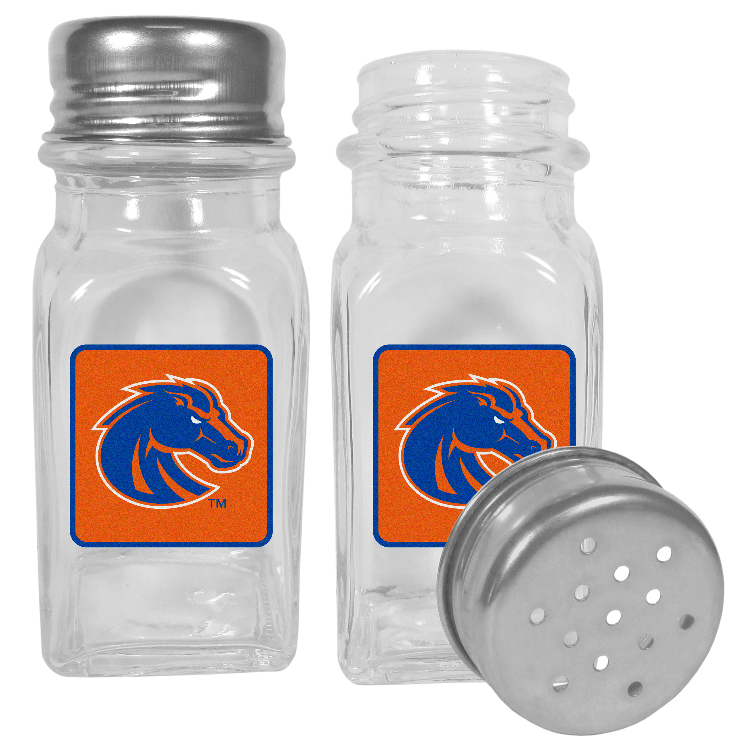 Boise St. Broncos Graphics Salt and Pepper Shaker - No tailgate party is complete without your Boise St. Broncos salt & pepper shakers featuring bright team logos. The diner replica salt and pepper shakers are glass with screw top lids. These team shakers are a great grill accessory whether you are barbecuing on the patio, picnicing or having a game day party.