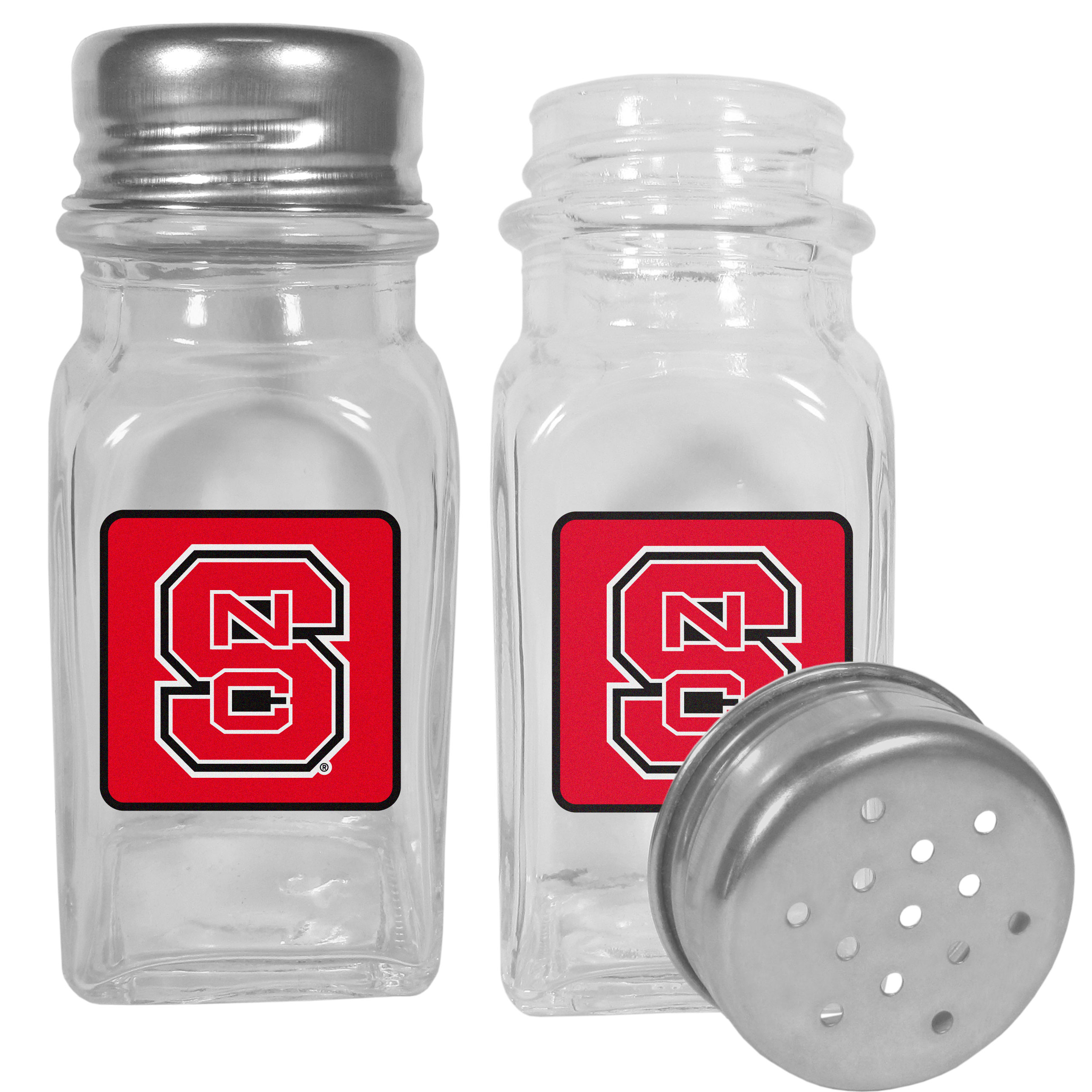 N. Carolina St. Wolfpack Graphics Salt and Pepper Shaker - No tailgate party is complete without your N. Carolina St. Wolfpack salt & pepper shakers featuring bright team logos. The diner replica salt and pepper shakers are glass with screw top lids. These team shakers are a great grill accessory whether you are barbecuing on the patio, picnicing or having a game day party.