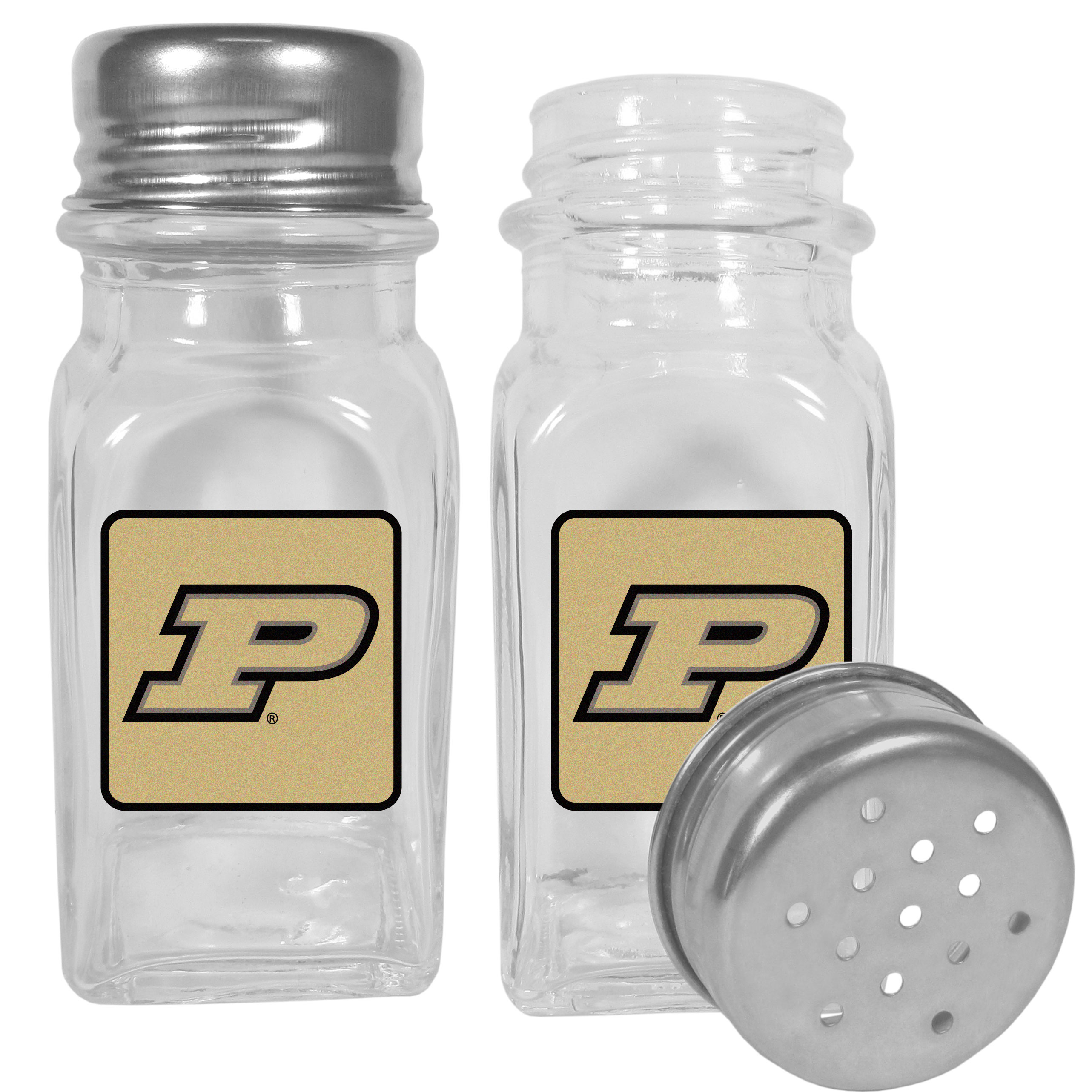 Purdue Boilermakers Graphics Salt & Pepper Shaker - No tailgate party is complete without your Purdue Boilermakers salt & pepper shakers featuring bright team logos. The diner replica salt and pepper shakers are glass with screw top lids. These team shakers are a great grill accessory whether you are barbecuing on the patio, picnicing or having a game day party.