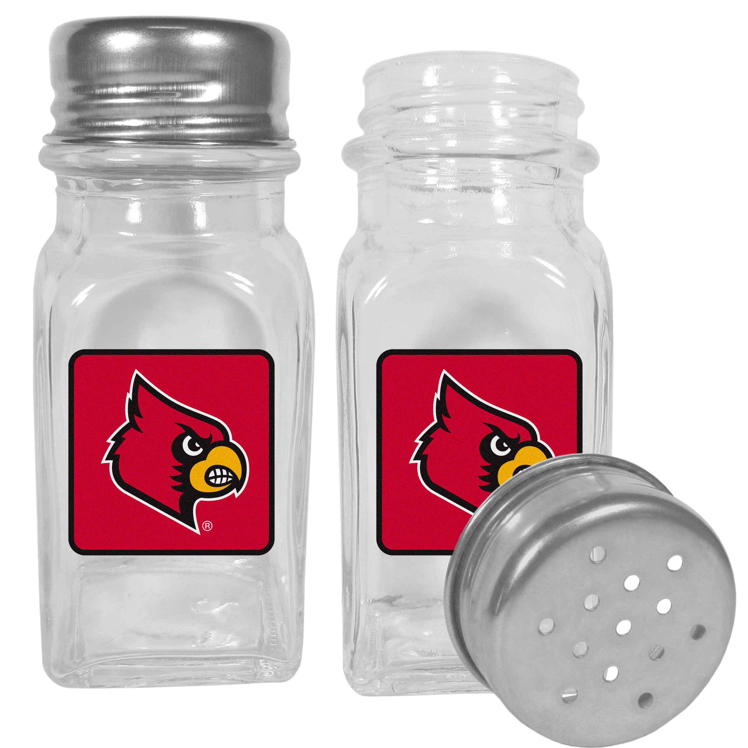 Louisville Cardinals Graphics Salt and Pepper Shaker - No tailgate party is complete without your Louisville Cardinals salt & pepper shakers featuring bright team logos. The diner replica salt and pepper shakers are glass with screw top lids. These team shakers are a great grill accessory whether you are barbecuing on the patio, picnicing or having a game day party.