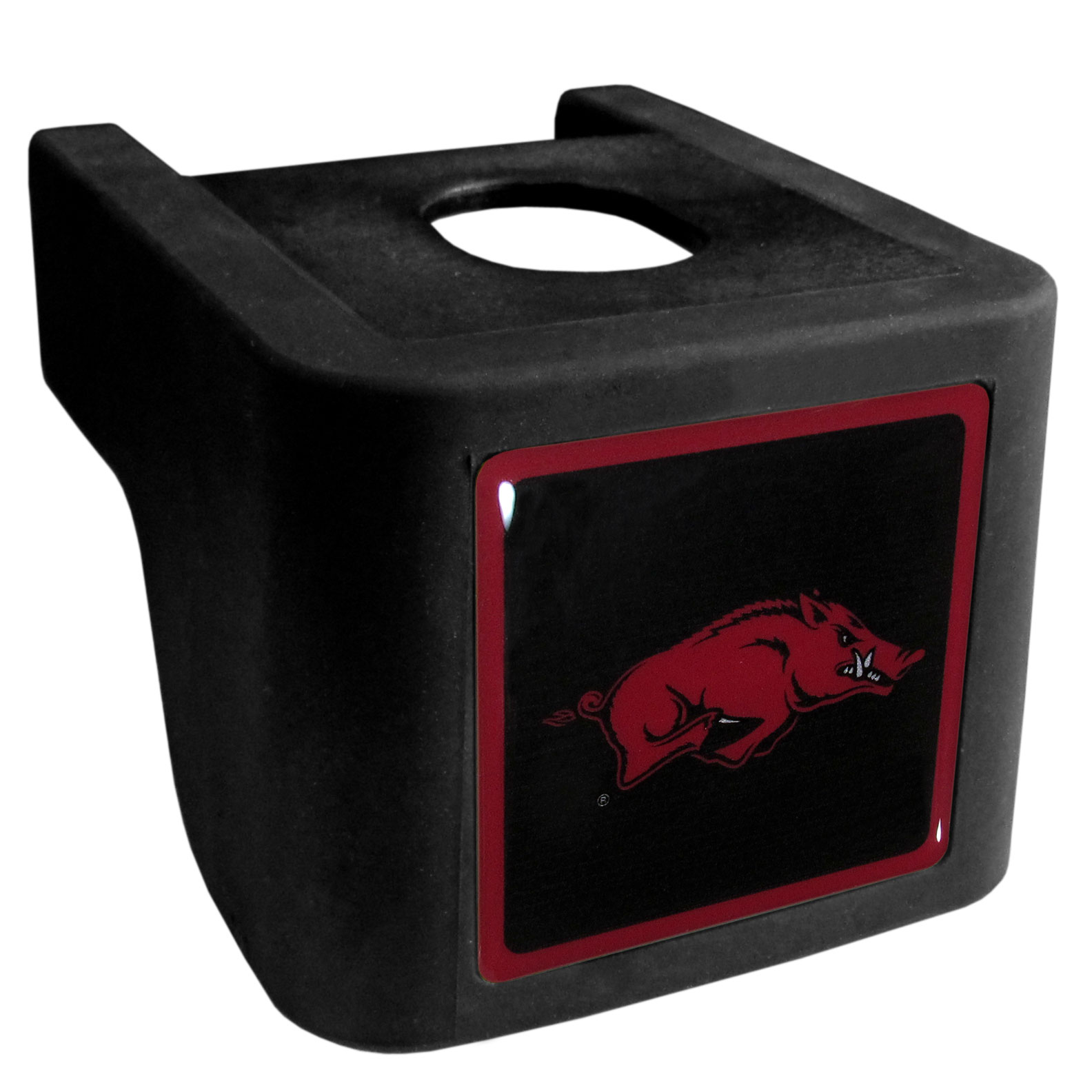 Arkansas Razorbacks Shin Shield Hitch Cover - This unique hitch cover features a large Arkansas Razorbacks logo. If you have ever hooked up a trailer or boat your have probably smashed your shins on the ball hitch a few times. This revolutionary shin shield hitch cover provides your much abused shins with the protection they deserve! The tough rubber hitch is rated to work with Class V hitch receivers hauling up to 17,000 gross trailer weight and 1,700 tongue weight allowing you to leave it on while hauling.