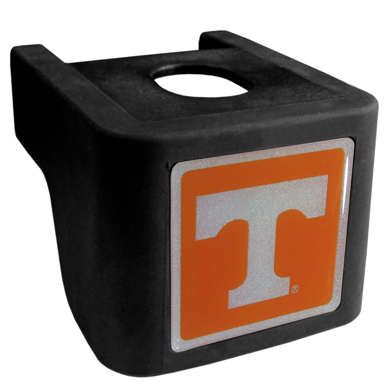 Tennessee Volunteers Shin Shield Hitch Cover - This unique hitch cover features a large Tennessee Volunteers logo. If you have ever hooked up a trailer or boat your have probably smashed your shins on the ball hitch a few times. This revolutionary shin shield hitch cover provides your much abused shins with the protection they deserve! The tough rubber hitch is rated to work with Class V hitch receivers hauling up to 17,000 gross trailer weight and 1,700 tongue weight allowing you to leave it on while hauling.