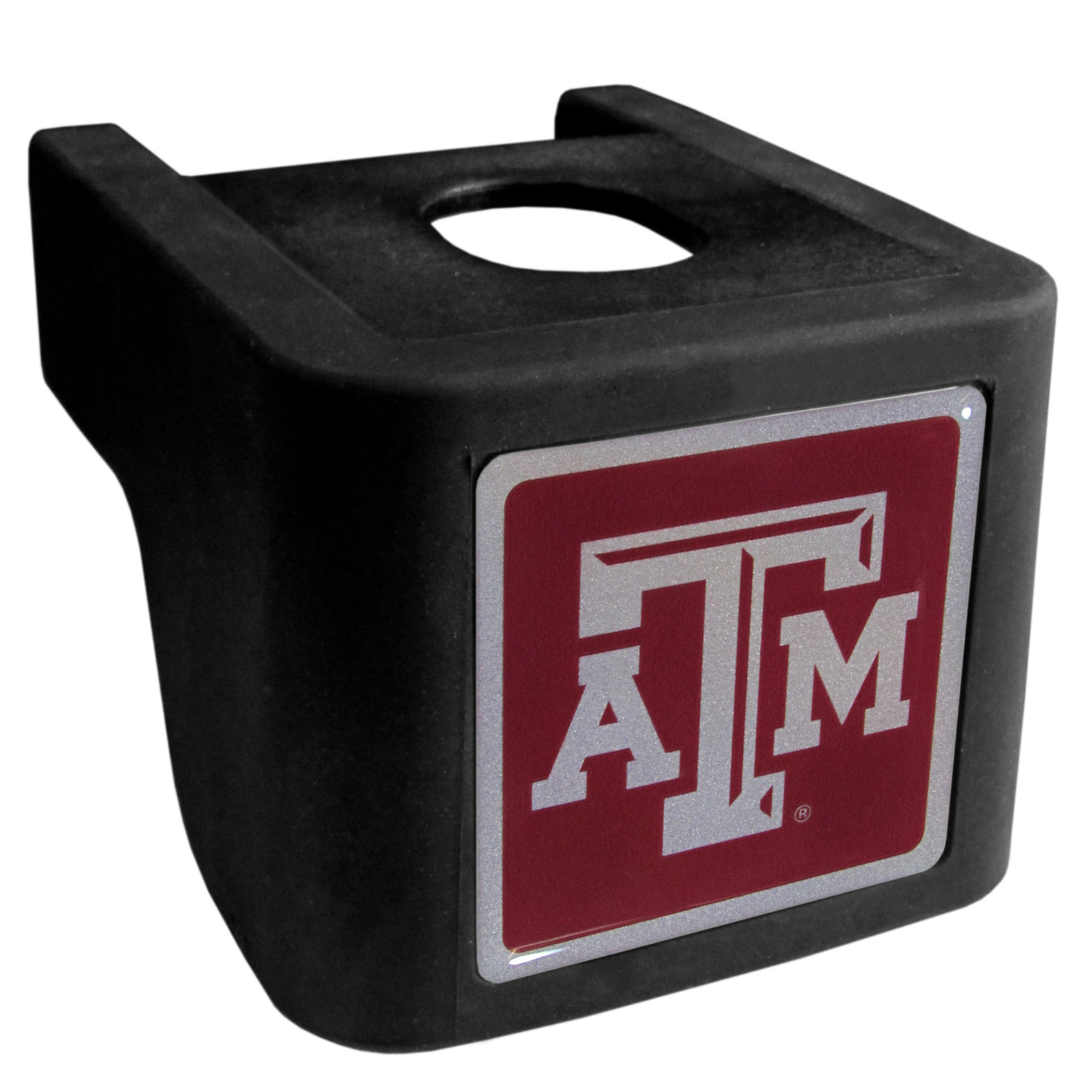 Texas A and M Aggies Shin Shield Hitch Cover - This unique hitch cover features a large Texas A & M Aggies logo. If you have ever hooked up a trailer or boat your have probably smashed your shins on the ball hitch a few times. This revolutionary shin shield hitch cover provides your much abused shins with the protection they deserve! The tough rubber hitch is rated to work with Class V hitch receivers hauling up to 17,000 gross trailer weight and 1,700 tongue weight allowing you to leave it on while hauling.