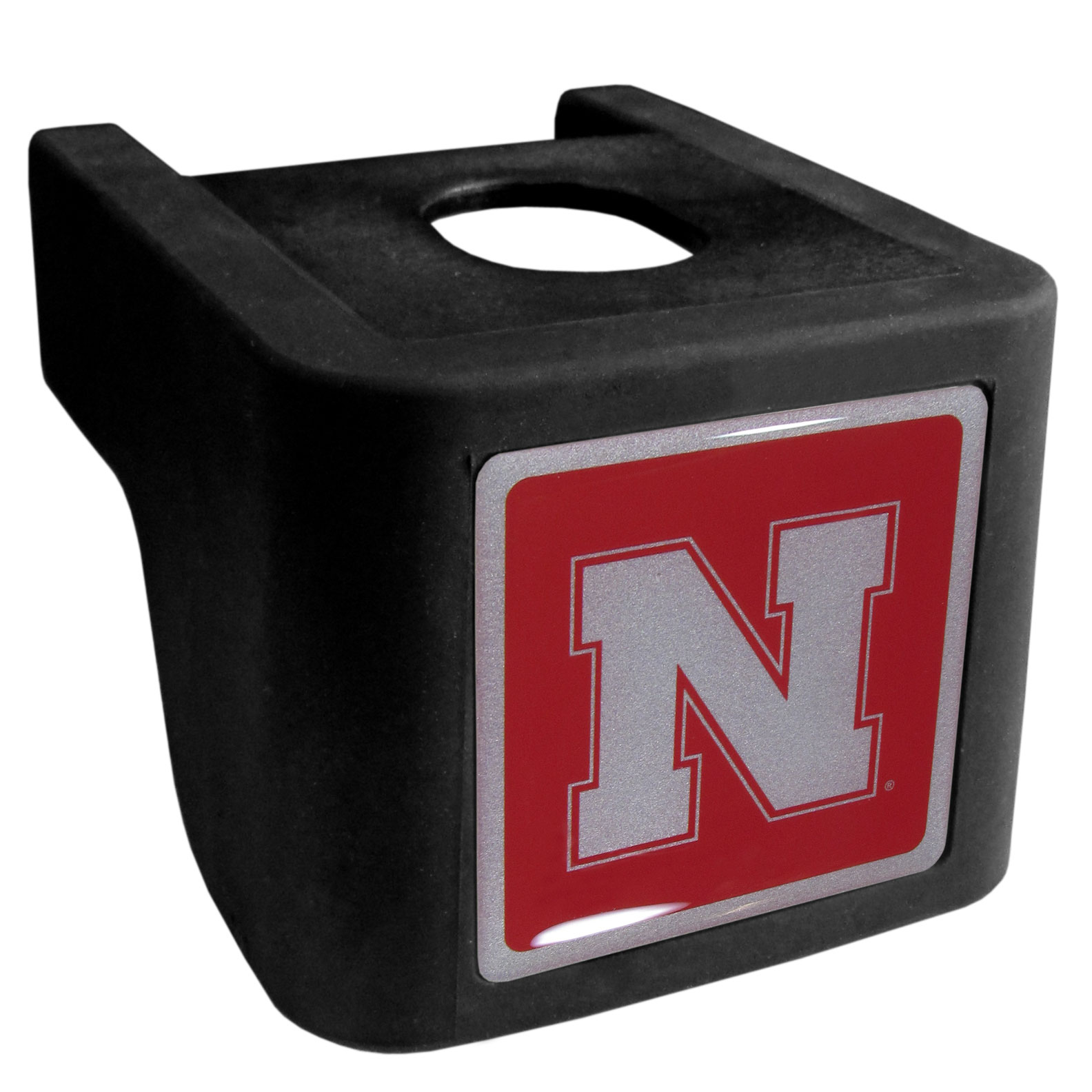 Nebraska Cornhuskers Shin Shield Hitch Cover - This unique hitch cover features a large Nebraska Cornhuskers logo. If you have ever hooked up a trailer or boat your have probably smashed your shins on the ball hitch a few times. This revolutionary shin shield hitch cover provides your much abused shins with the protection they deserve! The tough rubber hitch is rated to work with Class V hitch receivers hauling up to 17,000 gross trailer weight and 1,700 tongue weight allowing you to leave it on while hauling.