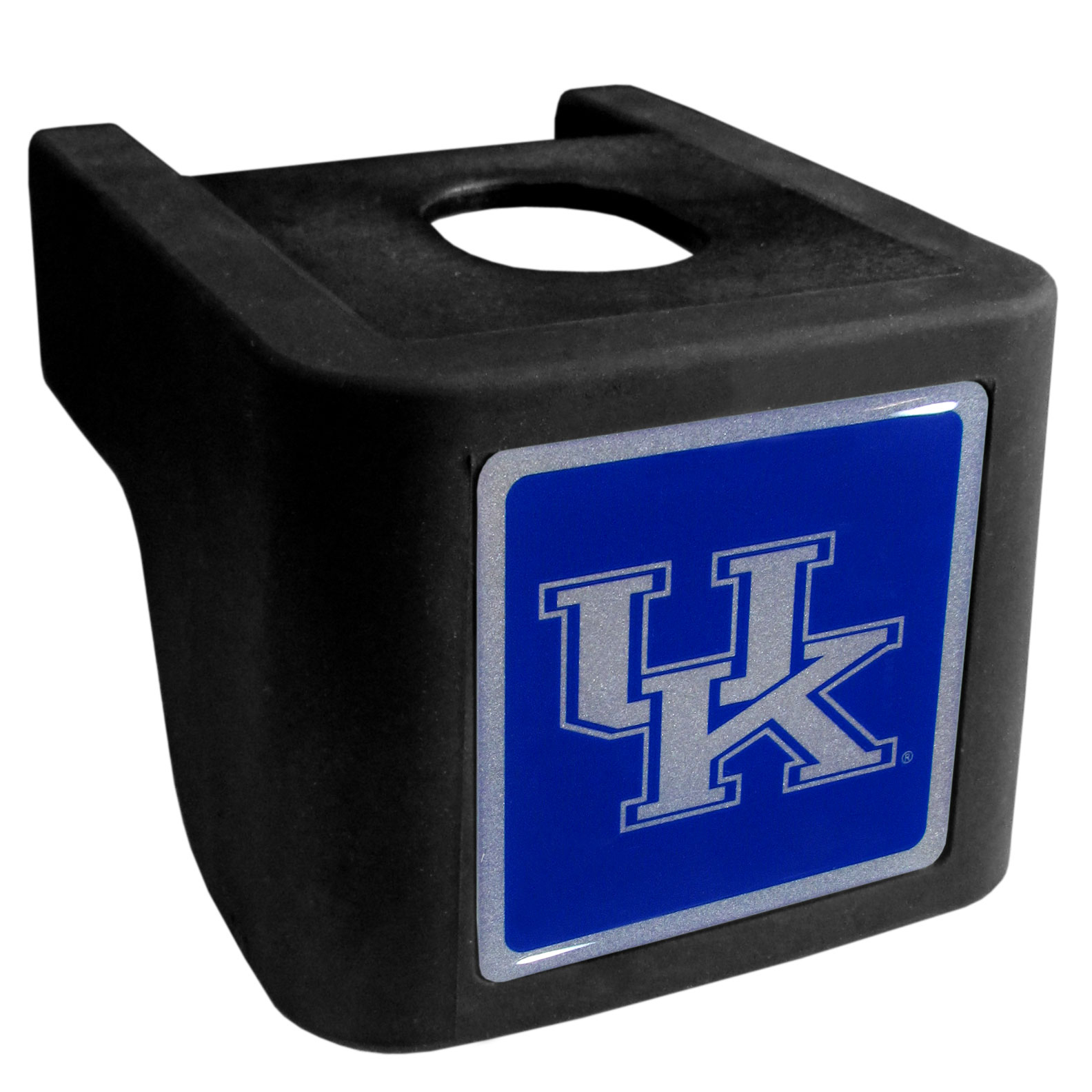 Kentucky Wildcats Shin Shield Hitch Cover - This unique hitch cover features a large Kentucky Wildcats logo. If you have ever hooked up a trailer or boat your have probably smashed your shins on the ball hitch a few times. This revolutionary shin shield hitch cover provides your much abused shins with the protection they deserve! The tough rubber hitch is rated to work with Class V hitch receivers hauling up to 17,000 gross trailer weight and 1,700 tongue weight allowing you to leave it on while hauling.