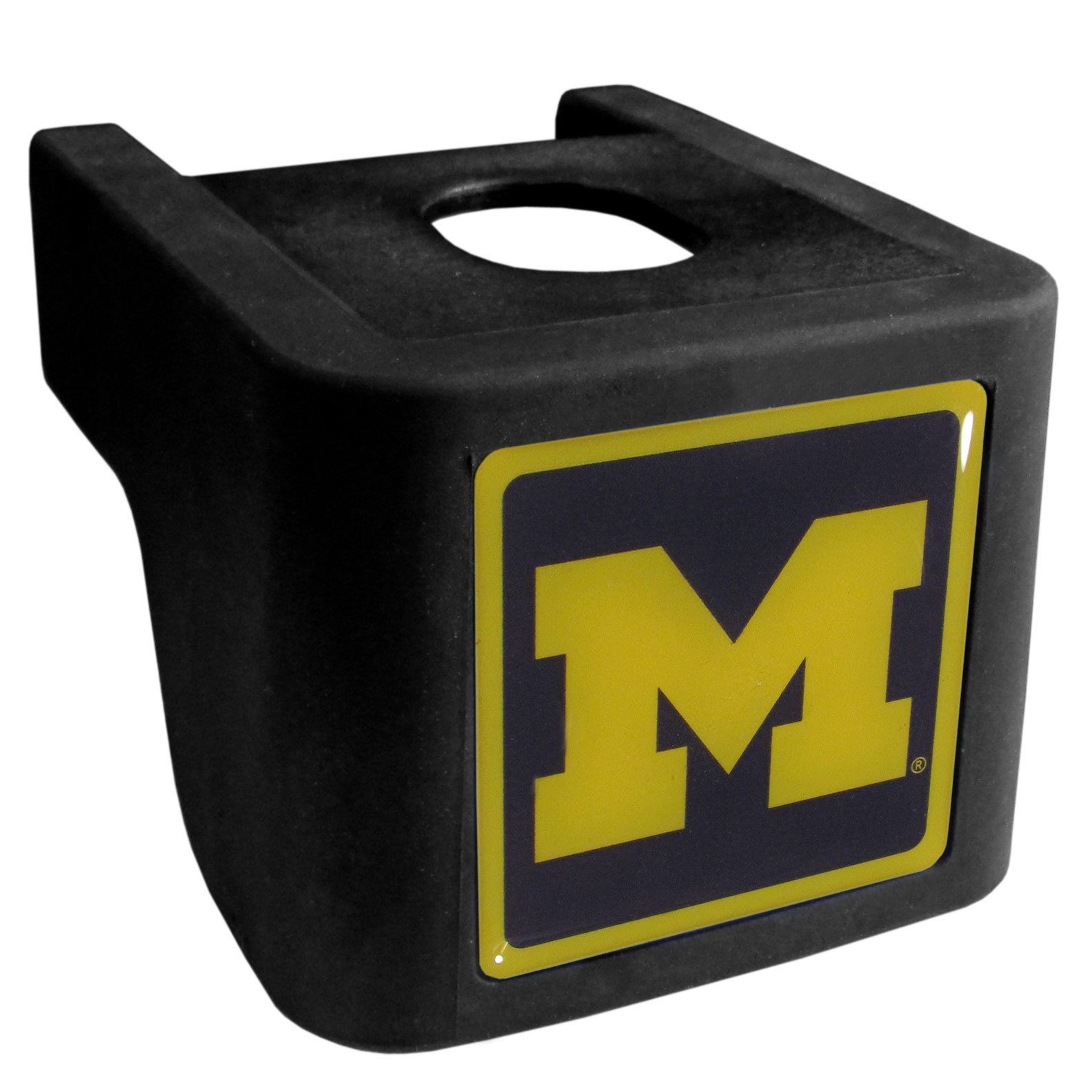 Michigan Wolverines Shin Shield Hitch Cover - This unique hitch cover features a large Michigan Wolverines logo. If you have ever hooked up a trailer or boat your have probably smashed your shins on the ball hitch a few times. This revolutionary shin shield hitch cover provides your much abused shins with the protection they deserve! The tough rubber hitch is rated to work with Class V hitch receivers hauling up to 17,000 gross trailer weight and 1,700 tongue weight allowing you to leave it on while hauling.