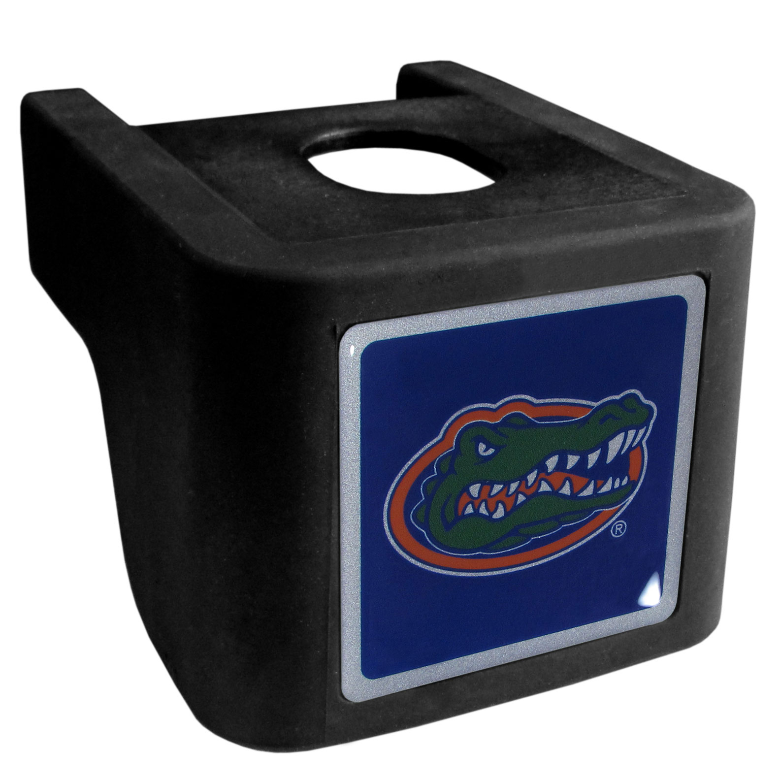 Florida Gators Shin Shield Hitch Cover - This unique hitch cover features a large Florida Gators logo. If you have ever hooked up a trailer or boat your have probably smashed your shins on the ball hitch a few times. This revolutionary shin shield hitch cover provides your much abused shins with the protection they deserve! The tough rubber hitch is rated to work with Class V hitch receivers hauling up to 17,000 gross trailer weight and 1,700 tongue weight allowing you to leave it on while hauling.