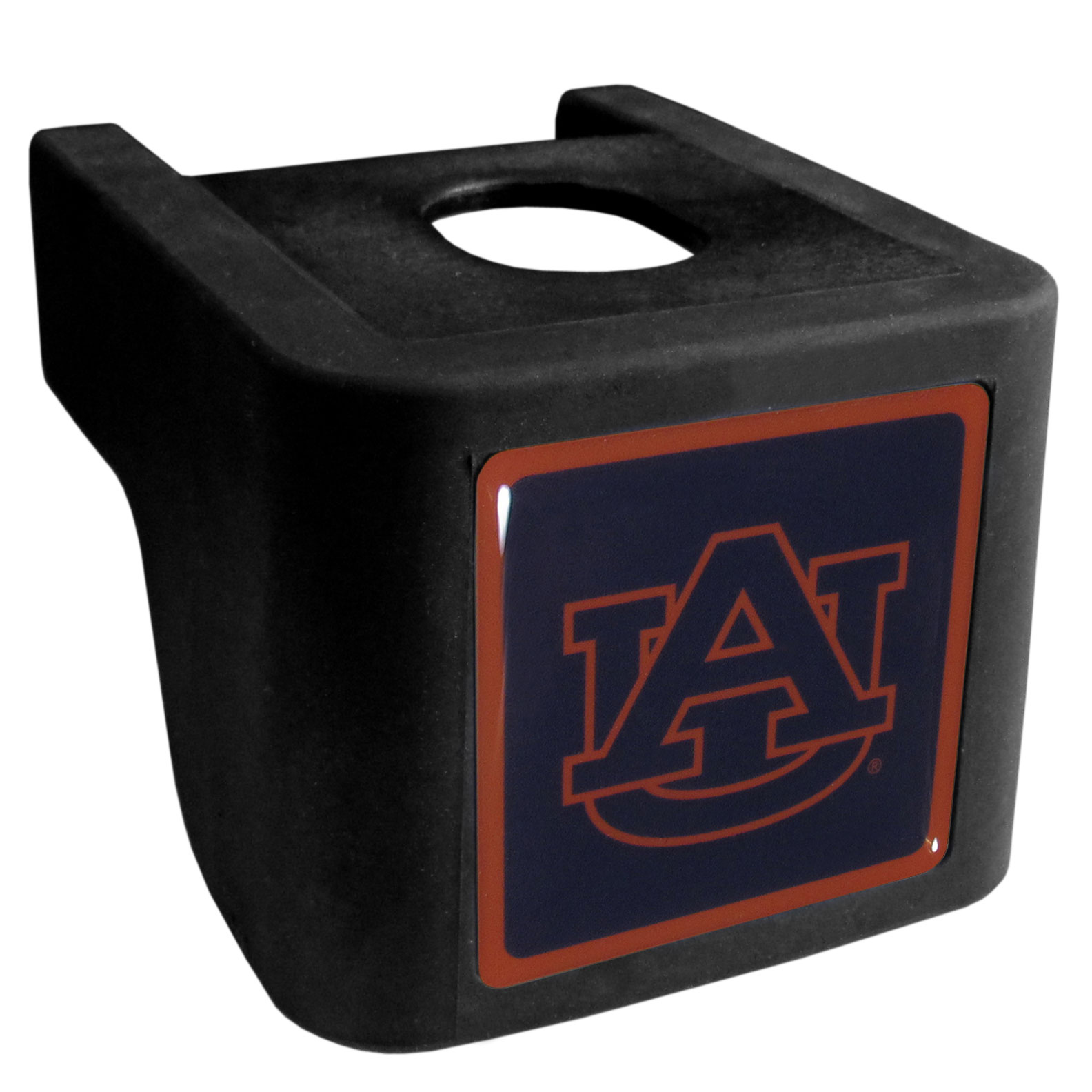 Auburn Tigers Shin Shield Hitch Cover - This unique hitch cover features a large Auburn Tigers logo. If you have ever hooked up a trailer or boat your have probably smashed your shins on the ball hitch a few times. This revolutionary shin shield hitch cover provides your much abused shins with the protection they deserve! The tough rubber hitch is rated to work with Class V hitch receivers hauling up to 17,000 gross trailer weight and 1,700 tongue weight allowing you to leave it on while hauling.