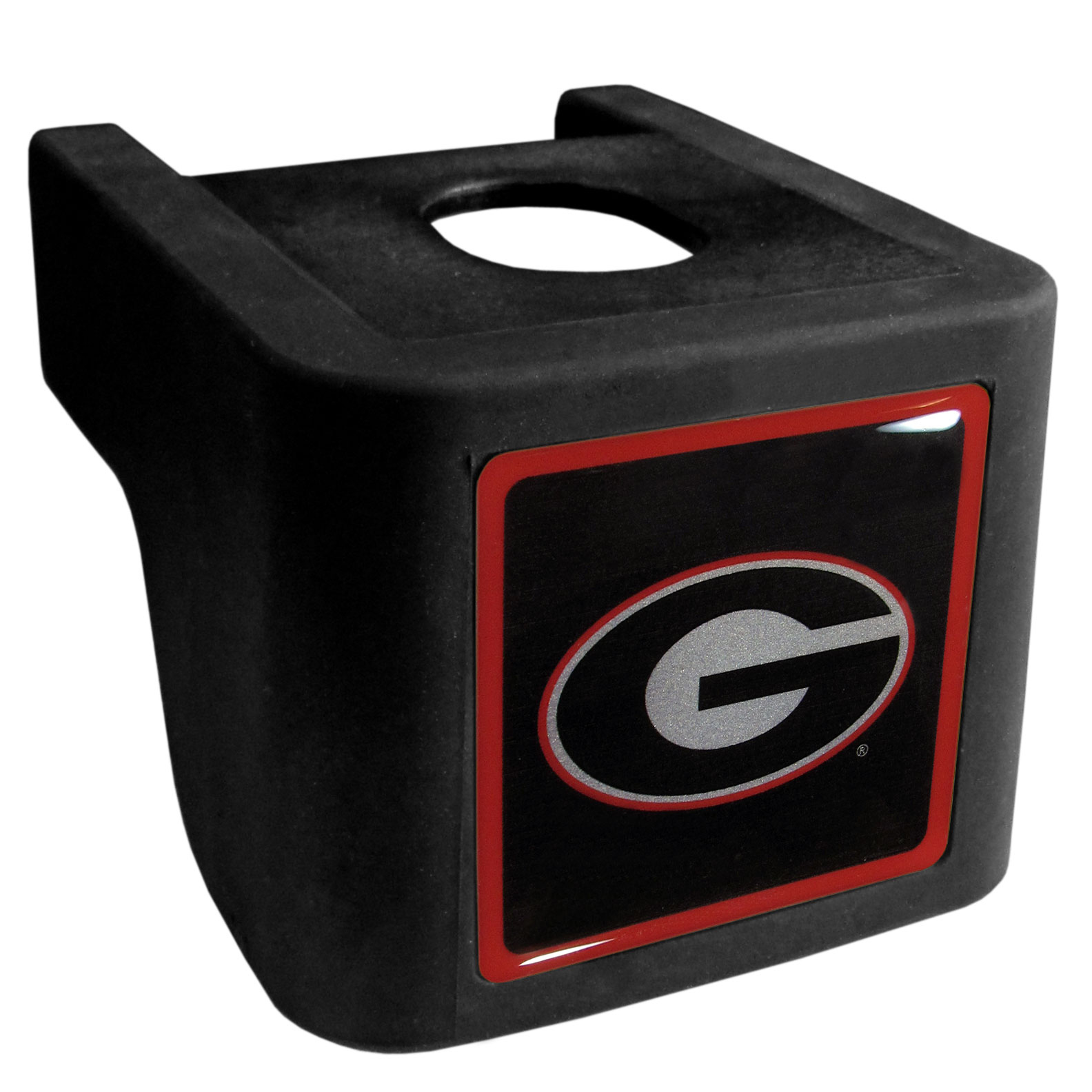 Georgia Bulldogs Shin Shield Hitch Cover - This unique hitch cover features a large Georgia Bulldogs logo. If you have ever hooked up a trailer or boat your have probably smashed your shins on the ball hitch a few times. This revolutionary shin shield hitch cover provides your much abused shins with the protection they deserve! The tough rubber hitch is rated to work with Class V hitch receivers hauling up to 17,000 gross trailer weight and 1,700 tongue weight allowing you to leave it on while hauling.