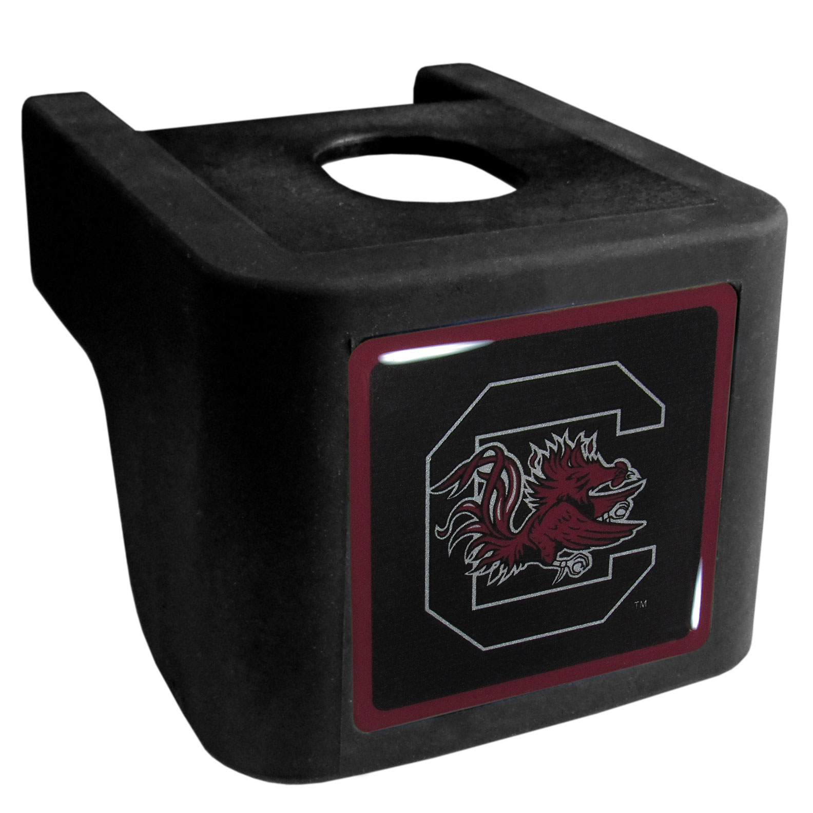 S. Carolina Gamecocks Shin Shield Hitch Cover - This unique hitch cover features a large S. Carolina Gamecocks logo. If you have ever hooked up a trailer or boat your have probably smashed your shins on the ball hitch a few times. This revolutionary shin shield hitch cover provides your much abused shins with the protection they deserve! The tough rubber hitch is rated to work with Class V hitch receivers hauling up to 17,000 gross trailer weight and 1,700 tongue weight allowing you to leave it on while hauling.
