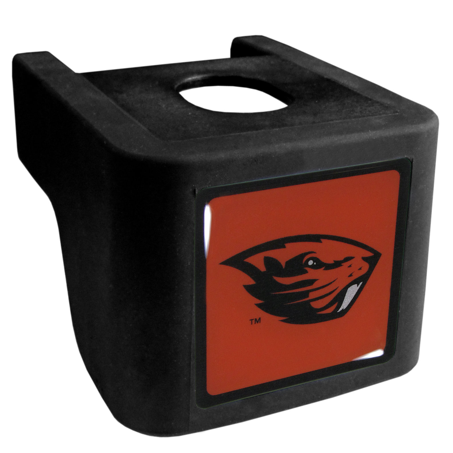 Oregon St. Beavers Shin Shield Hitch Cover - This unique hitch cover features a large Oregon St. Beavers logo. If you have ever hooked up a trailer or boat your have probably smashed your shins on the ball hitch a few times. This revolutionary shin shield hitch cover provides your much abused shins with the protection they deserve! The tough rubber hitch is rated to work with Class V hitch receivers hauling up to 17,000 gross trailer weight and 1,700 tongue weight allowing you to leave it on while hauling.
