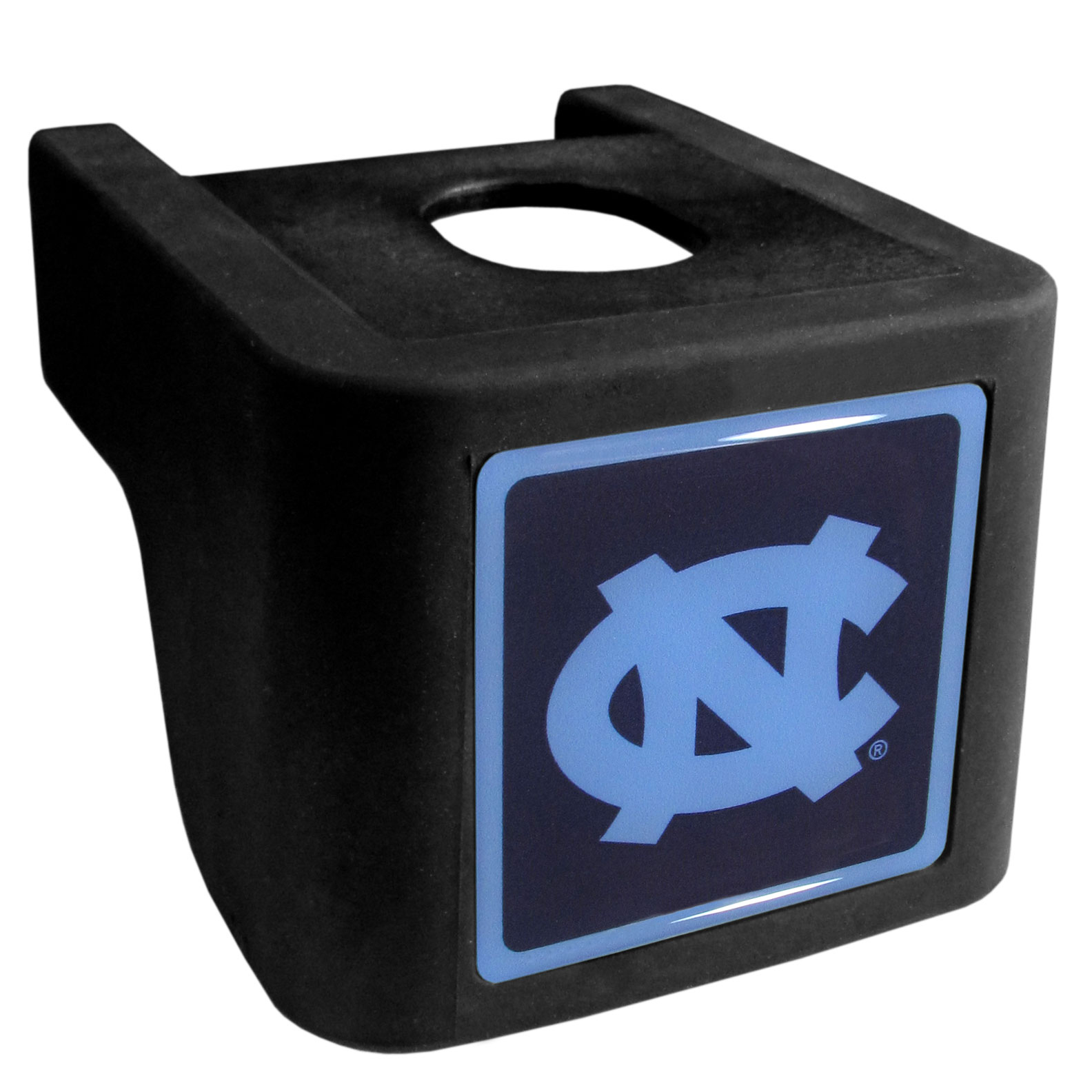 N. Carolina Tar Heels Shin Shield Hitch Cover - This unique hitch cover features a large N. Carolina Tar Heels logo. If you have ever hooked up a trailer or boat your have probably smashed your shins on the ball hitch a few times. This revolutionary shin shield hitch cover provides your much abused shins with the protection they deserve! The tough rubber hitch is rated to work with Class V hitch receivers hauling up to 17,000 gross trailer weight and 1,700 tongue weight allowing you to leave it on while hauling.